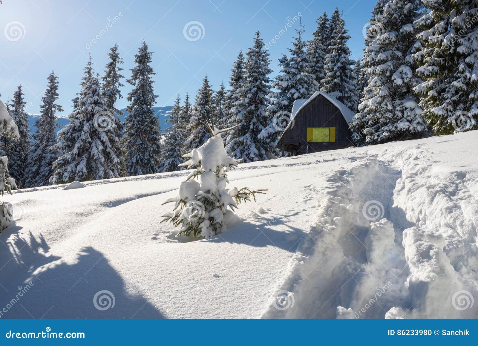 Бревенчатая хижина, укрытие в горах зимы