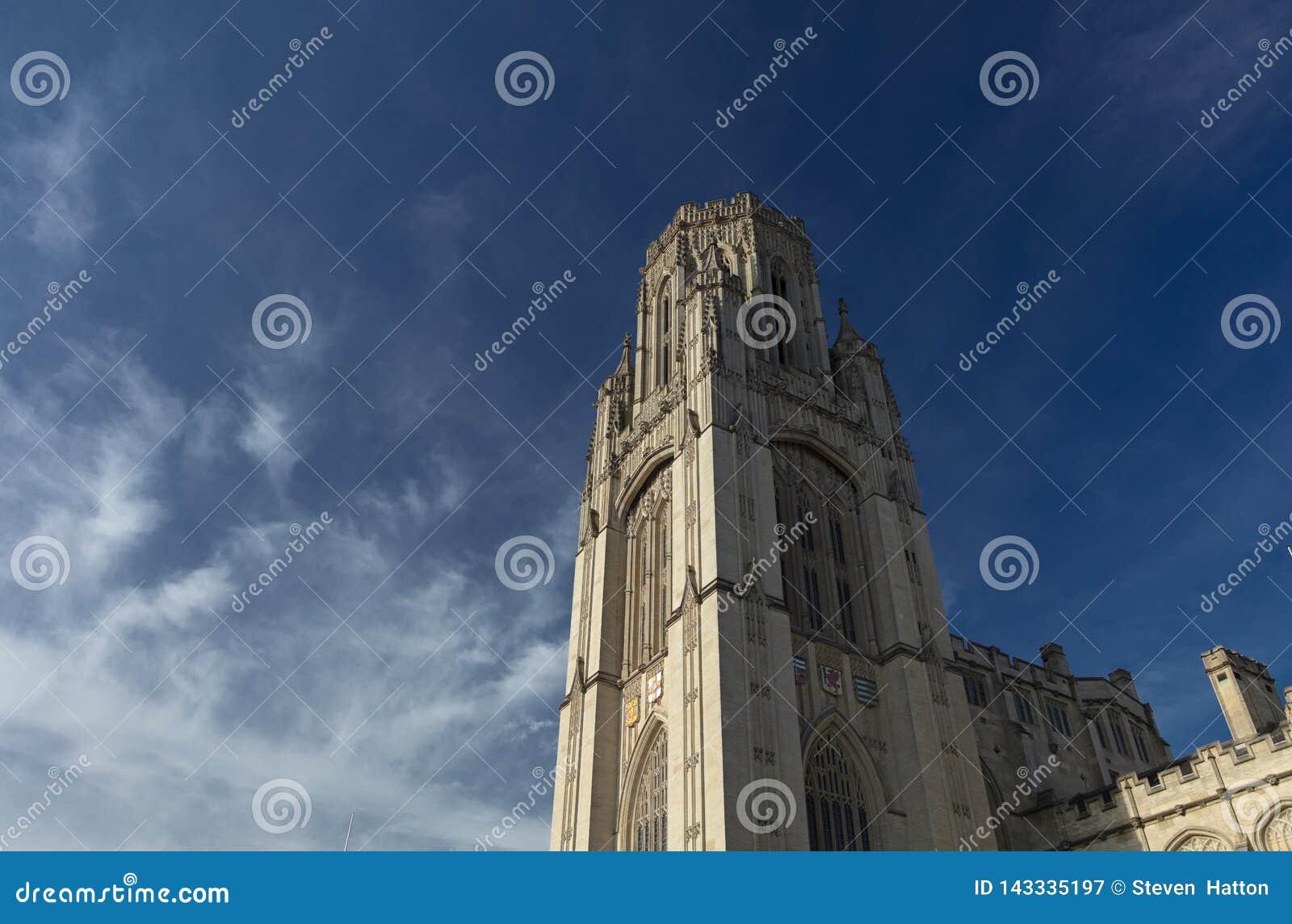 Бристоль, Великобритания, 21-ое февраля 2019, завещает мемориальную строя башню в университете Бристоля