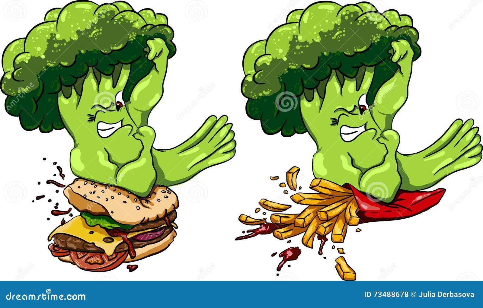 Брокколи против бургера и французских фраев, здоровая еда голодает, конкуренция