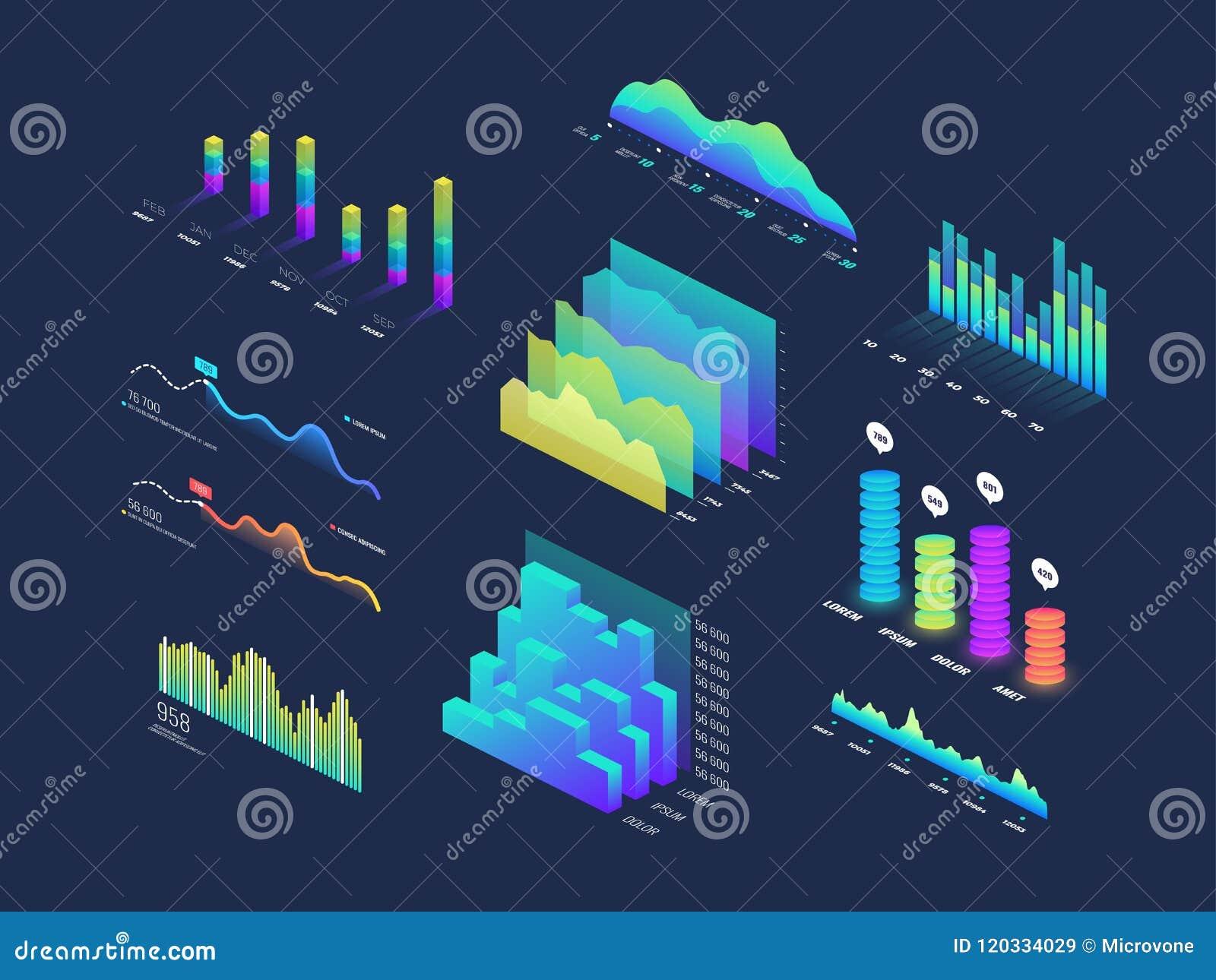 Будущие данные по техника 3d равновеликие финансируют график, диаграммы дела, анализ и планируют бинарные индикаторы и infographi