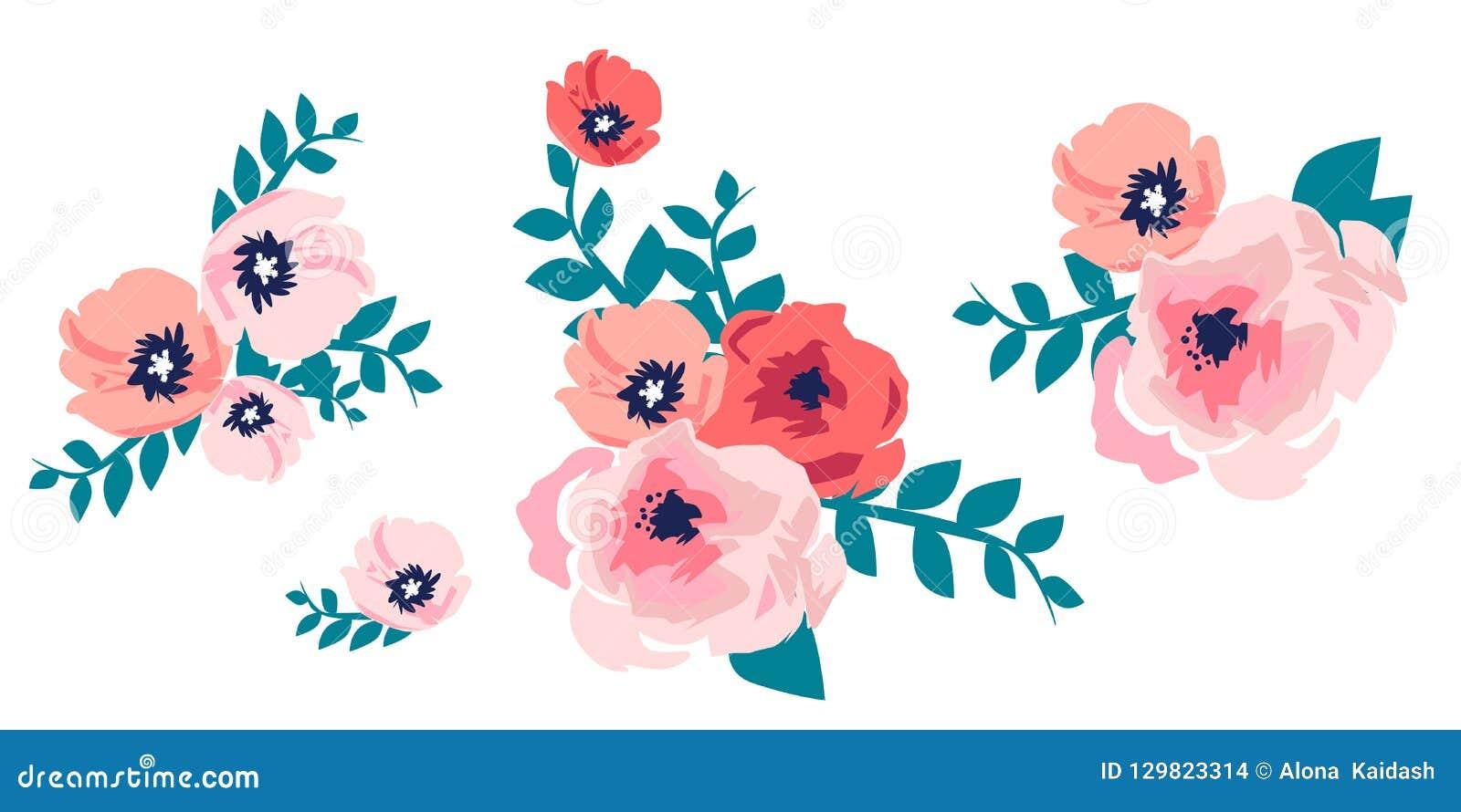 Букет акварели цветков Рука покрасила красочное флористическое