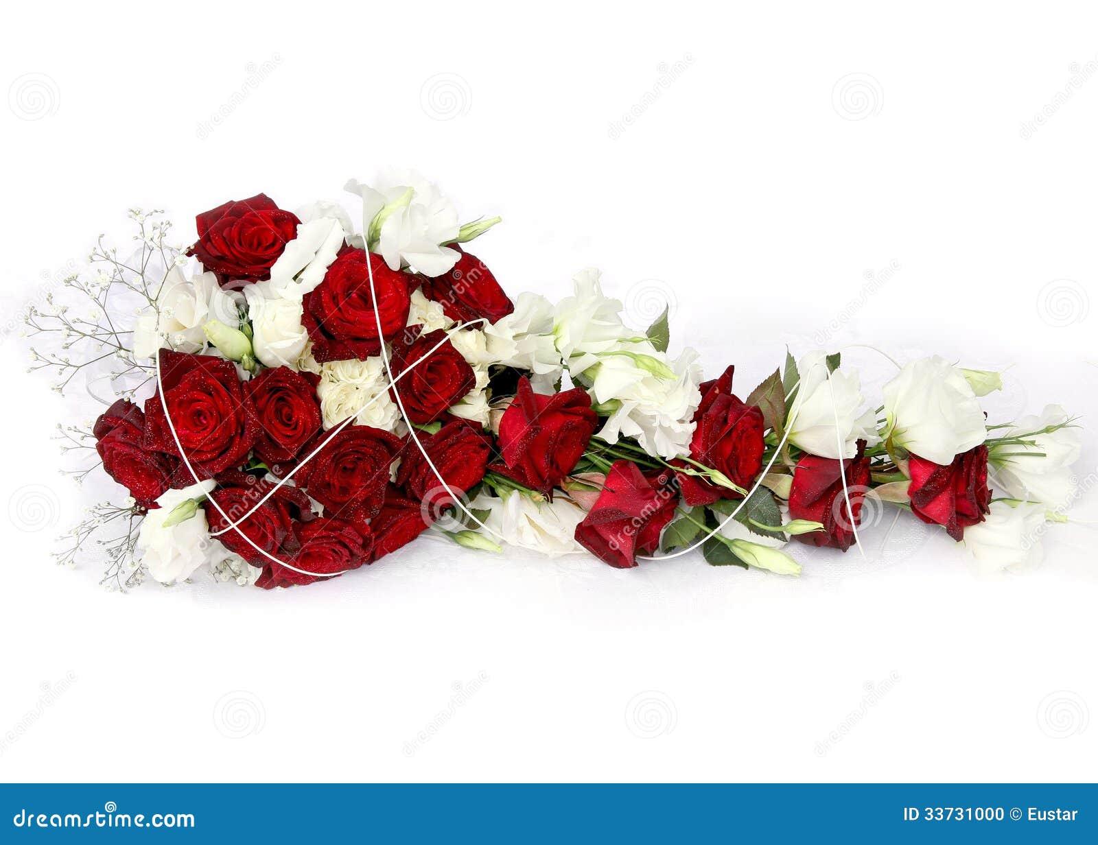 букет красного и белого цветка