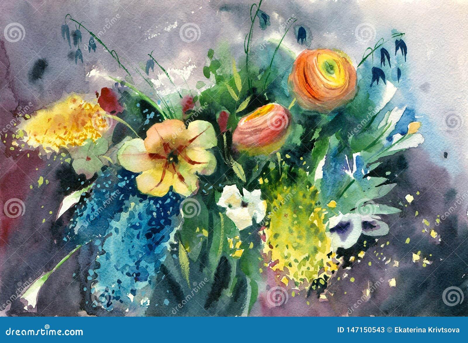 Букет лета акварели яркий красочных цветков