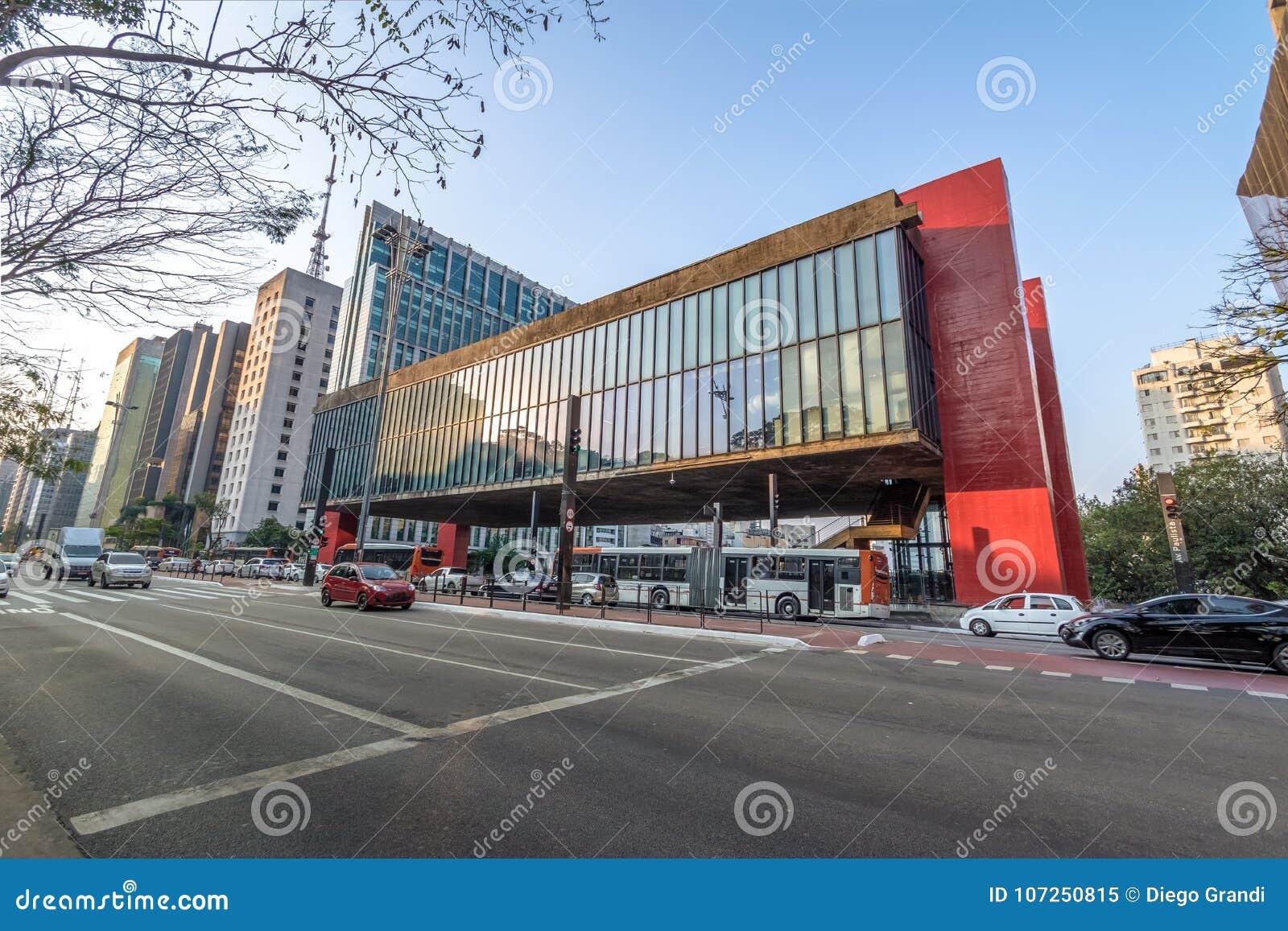 Бульвар Paulista и музей изобразительных искусств MASP Сан-Паулу - Сан-Паулу, Бразилия
