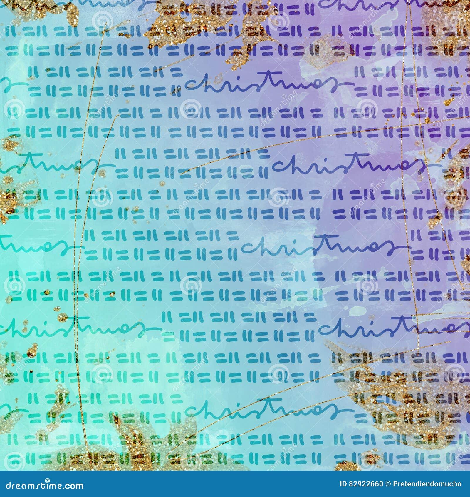 Бумага цифров рождества - яркий блеск и акварель