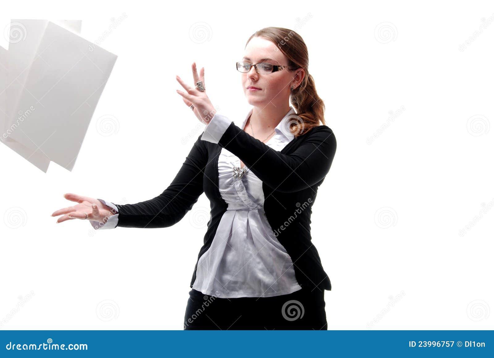 бумаги офиса девушки летания