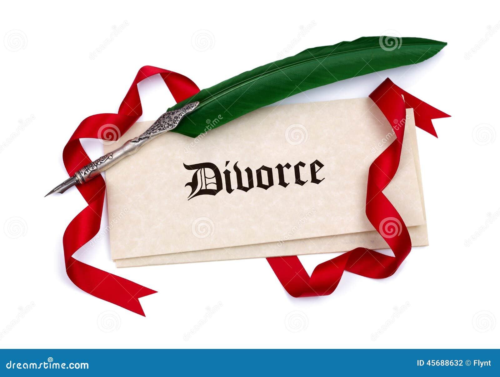 Бумаги развода и ручка quill