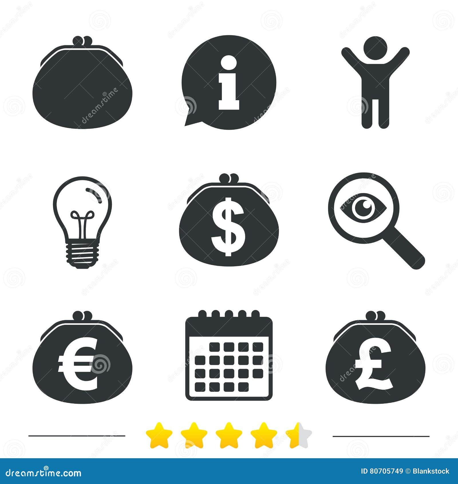 Бумажник с долларом, значками евро Знаки сумки наличных денег