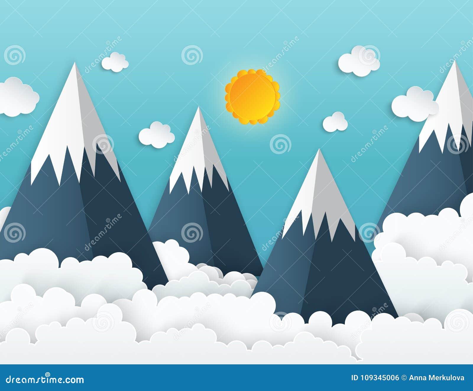 Бумажные горы с снегом, белые пушистые облака origami искусства