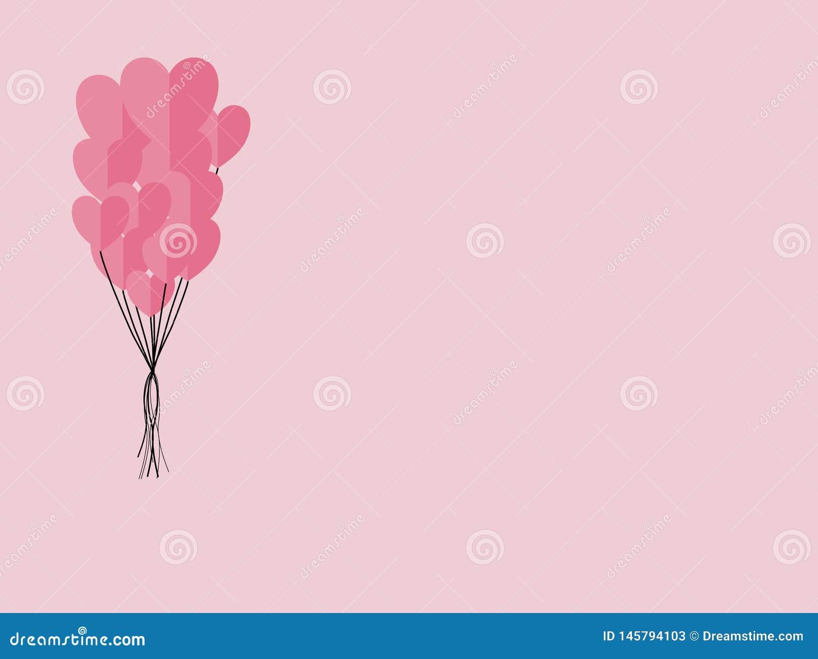 Бумажные элементы в форме летания сердца на розовой предпосылке символы любов