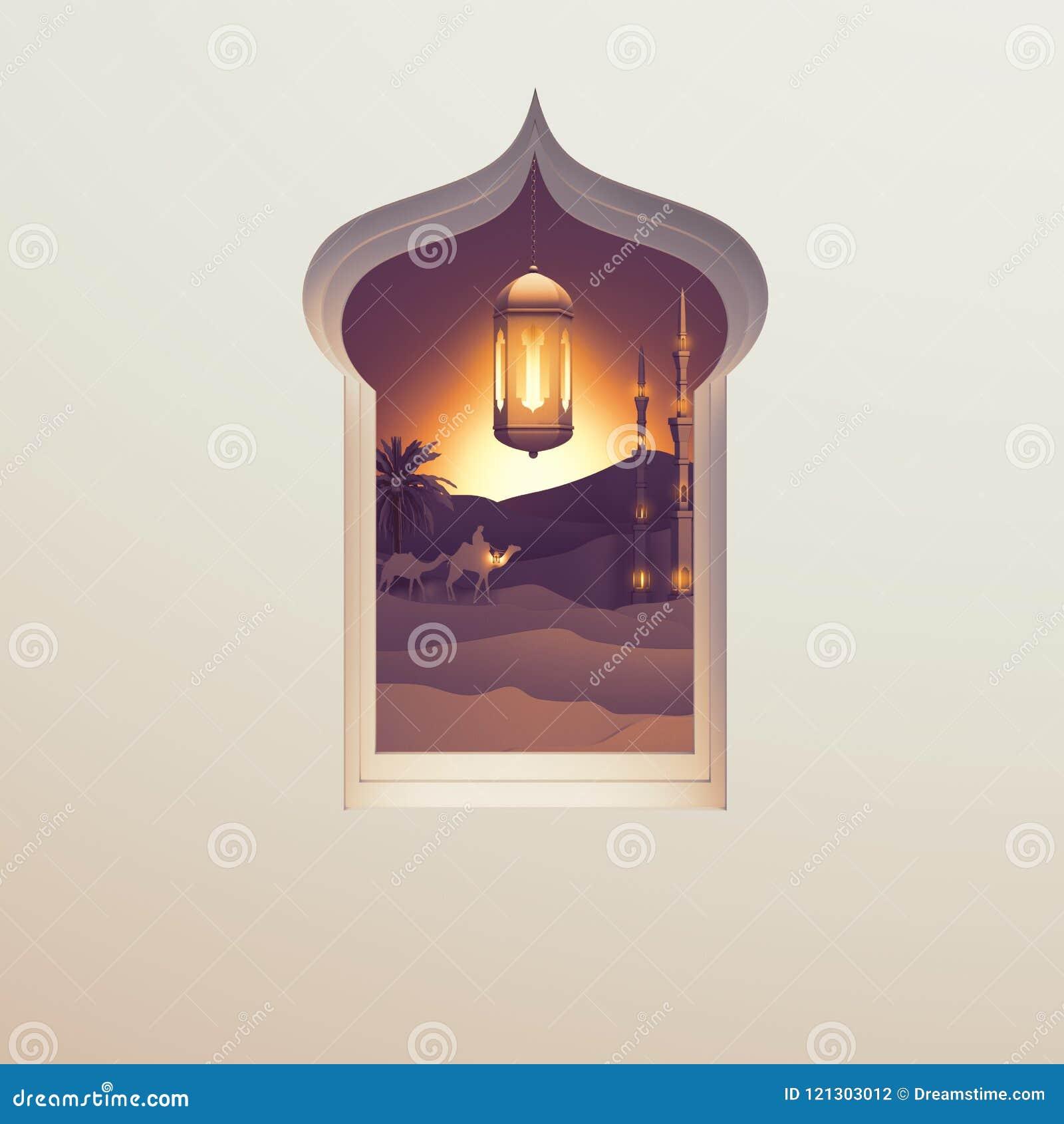 Бумажный взгляд искусства из арабского окна пустыни захода солнца с мечетью, верблюдом, фонариком лампы и ладонью дат