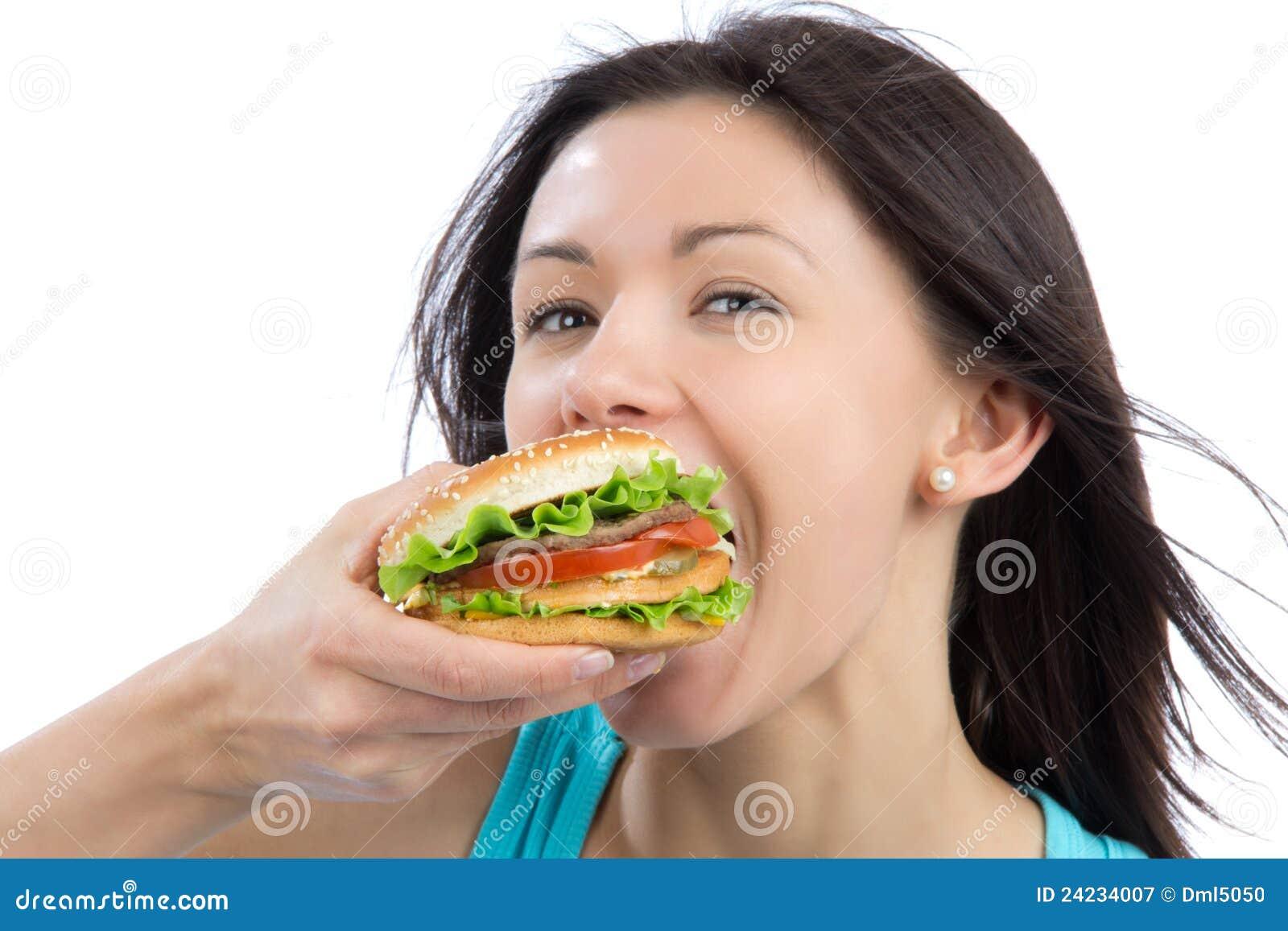 Девушка с бутербродом фото