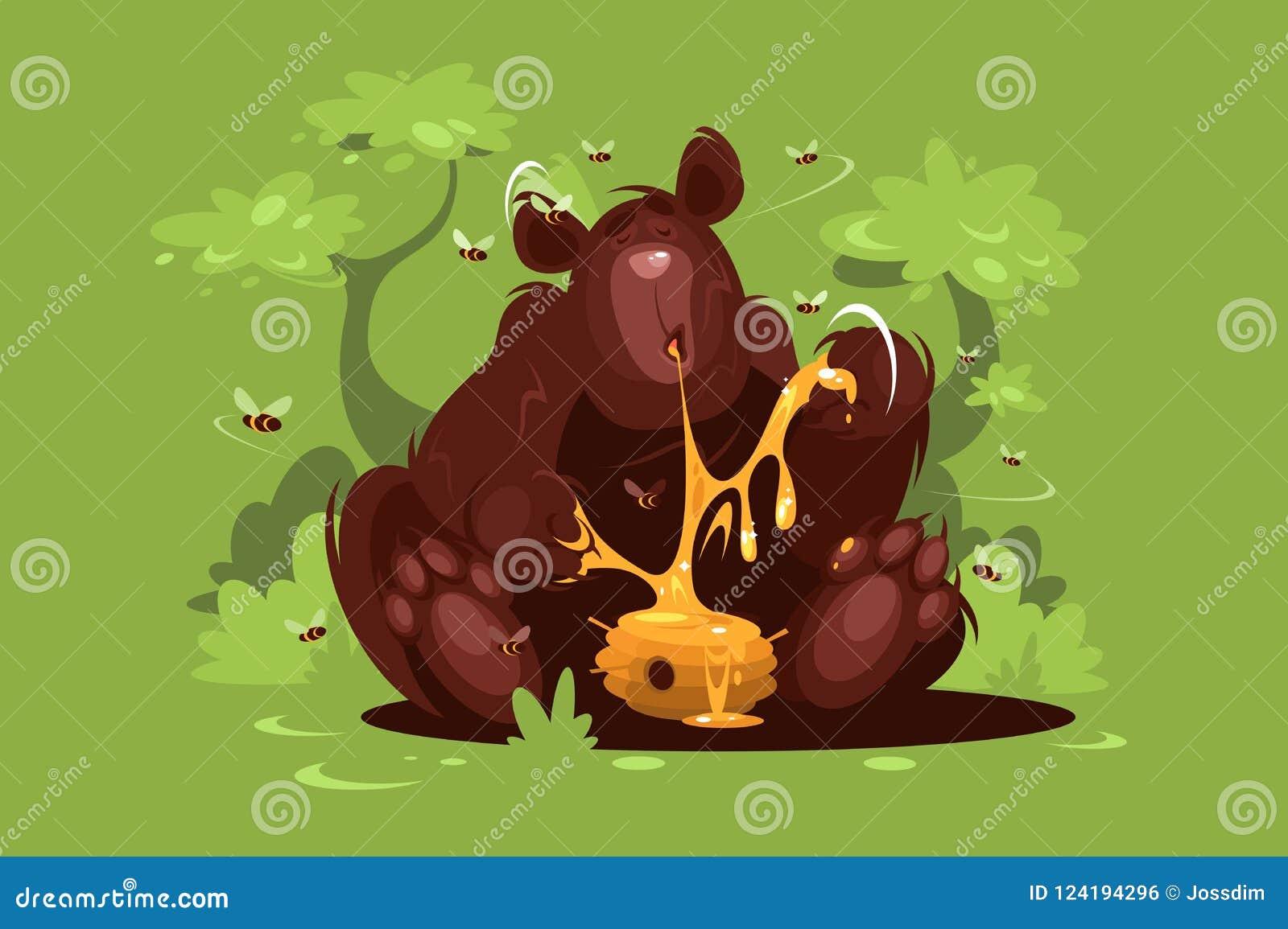 Бурый медведь ест сладостный мед