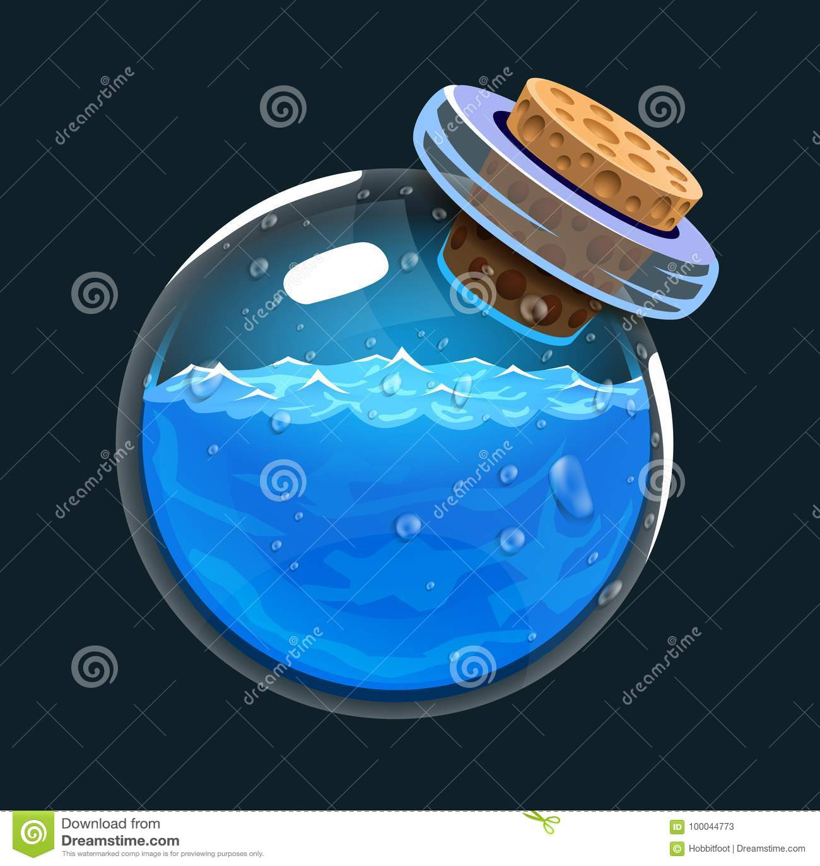 Бутылка воды Значок игры волшебного элексира Интерфейс для игры rpg или match3 Вода или mana Большой вариант