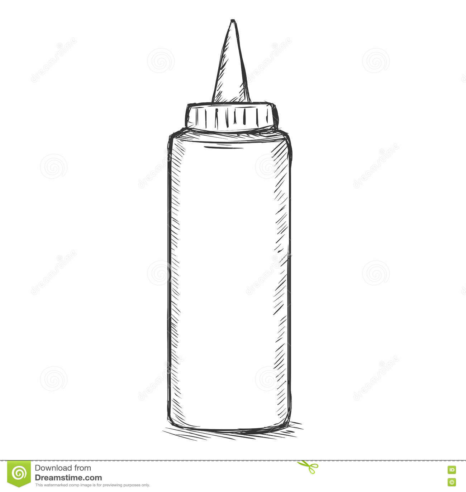 Бутылка пластмассы фаст-фуда эскиза вектора одиночная