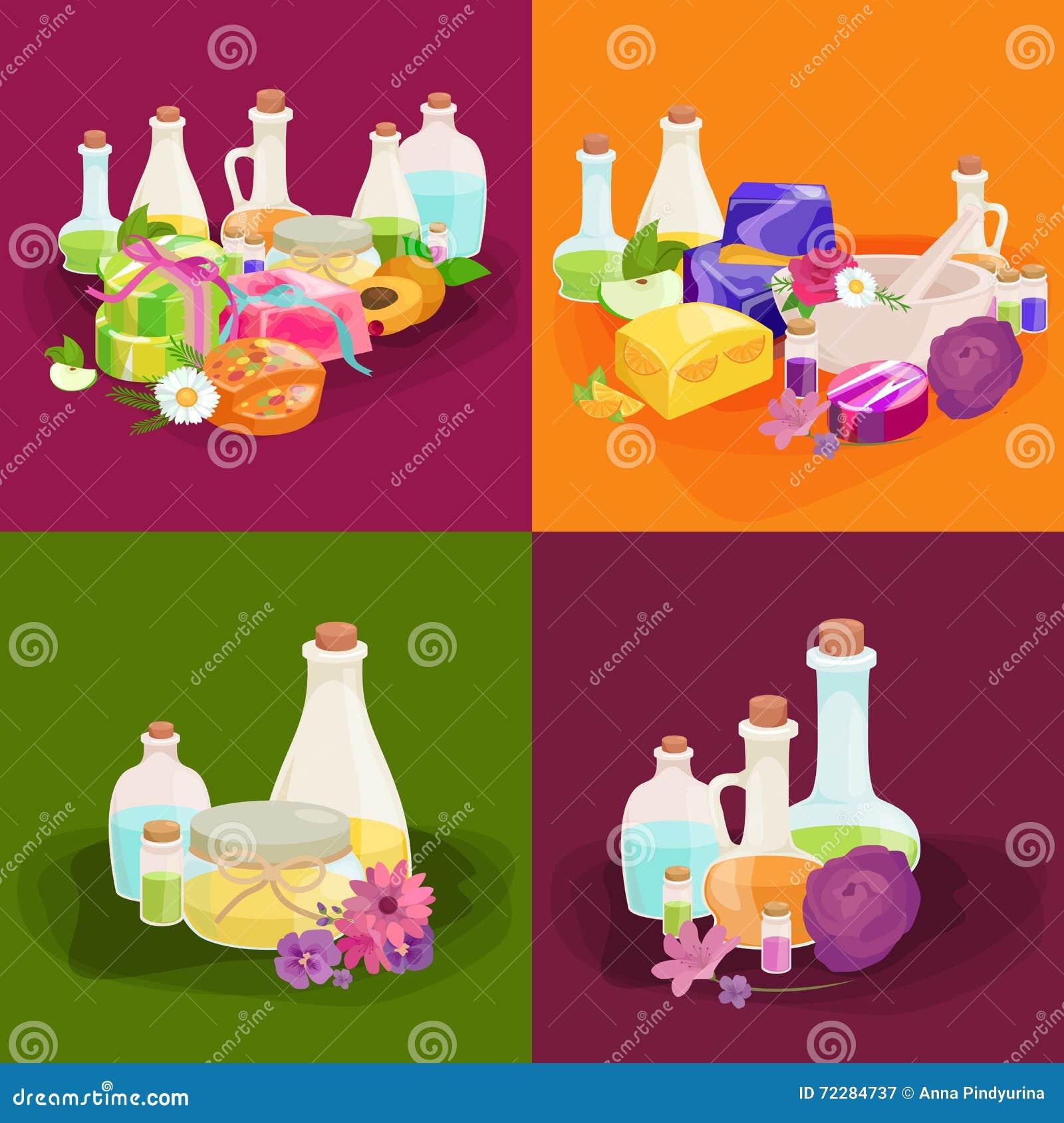 Download Бутылки с органическим необходимым комплектом бара масла и мыла ароматности Иллюстрация вектора - иллюстрации насчитывающей цветок, бобра: 72284737
