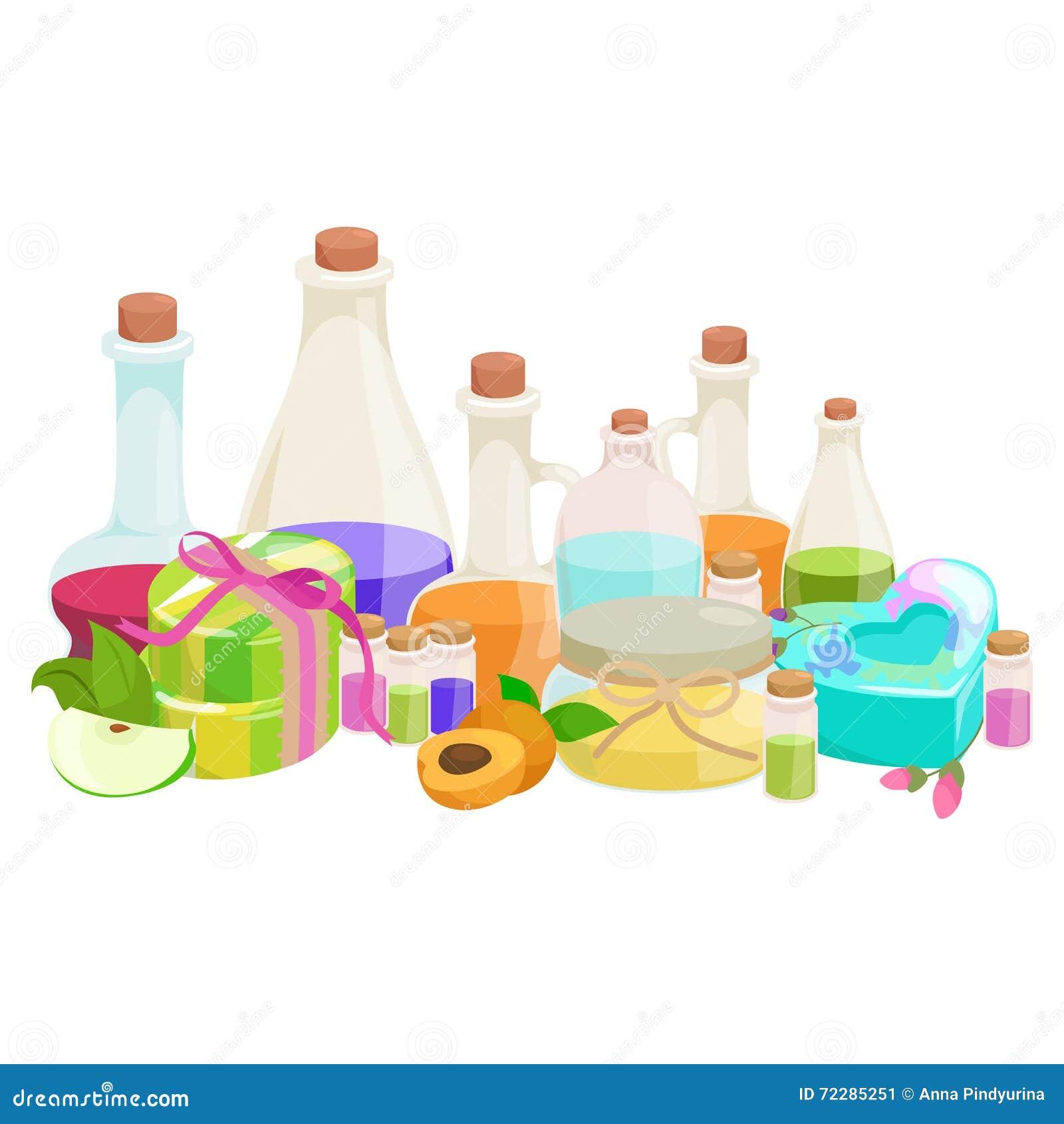 Download Бутылки с органическим необходимым комплектом бара масла и мыла ароматности Иллюстрация вектора - иллюстрации насчитывающей бронированных, backhoe: 72285251