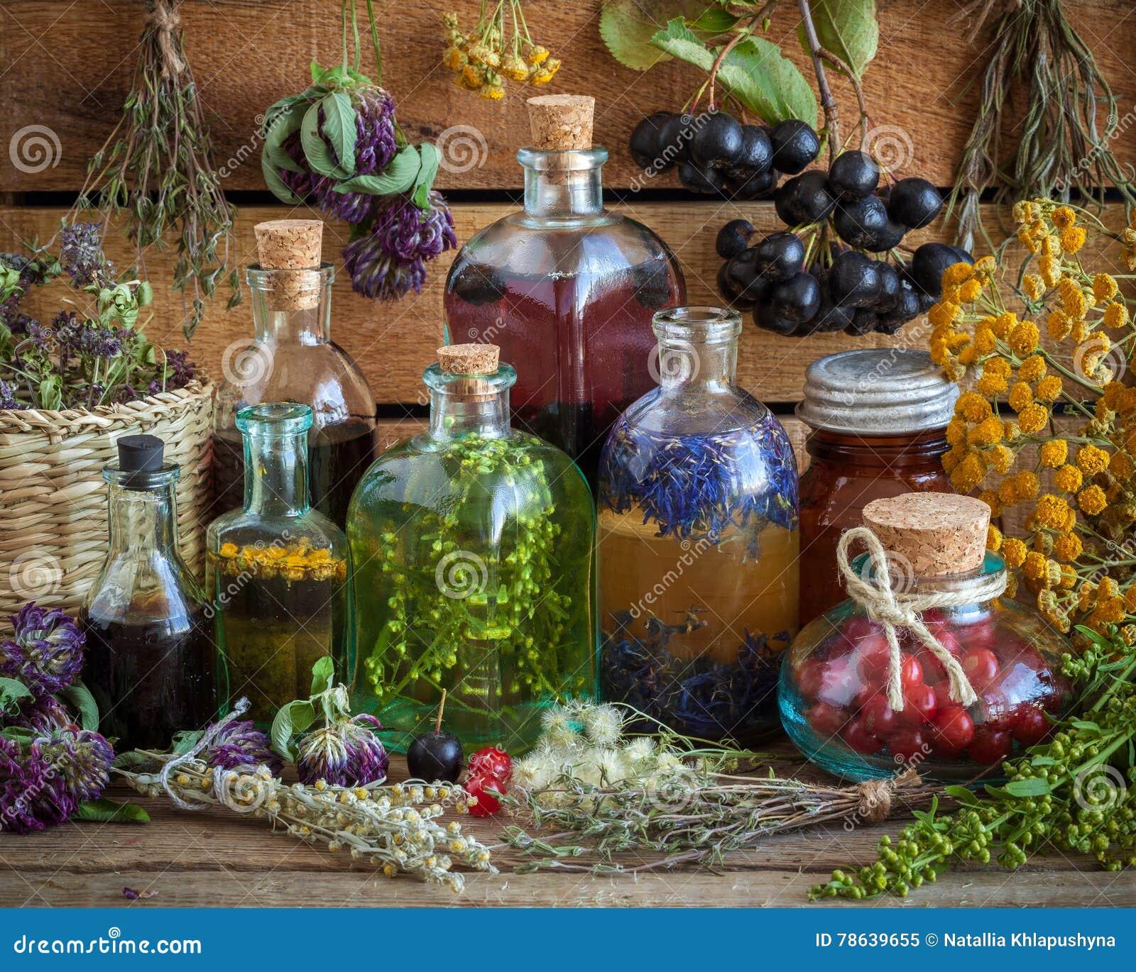 Бутылки тинктуры, зелья, масла, здоровых ягод и трав