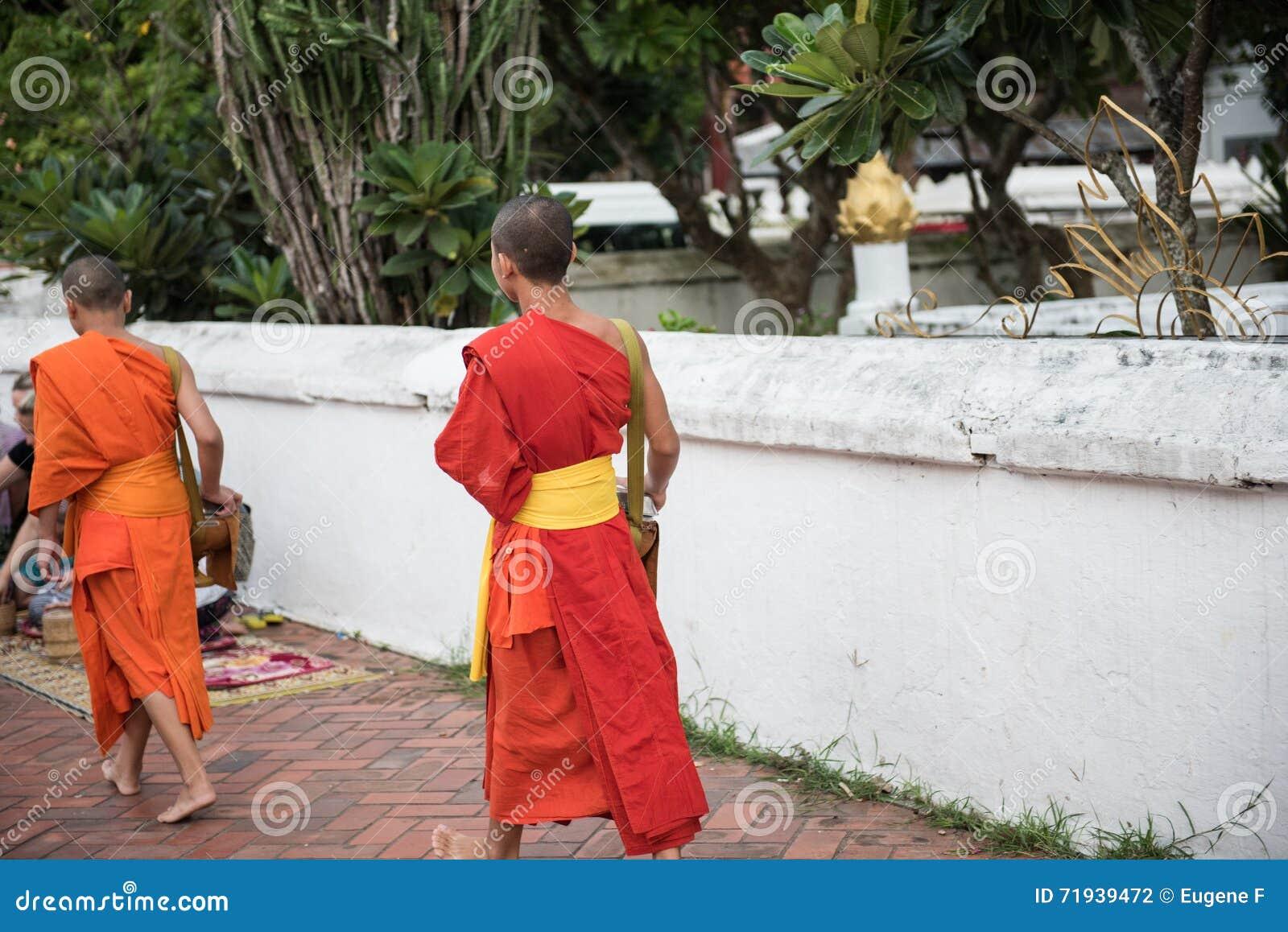 Буддийские монахи в ремне Sim Wat Xieng