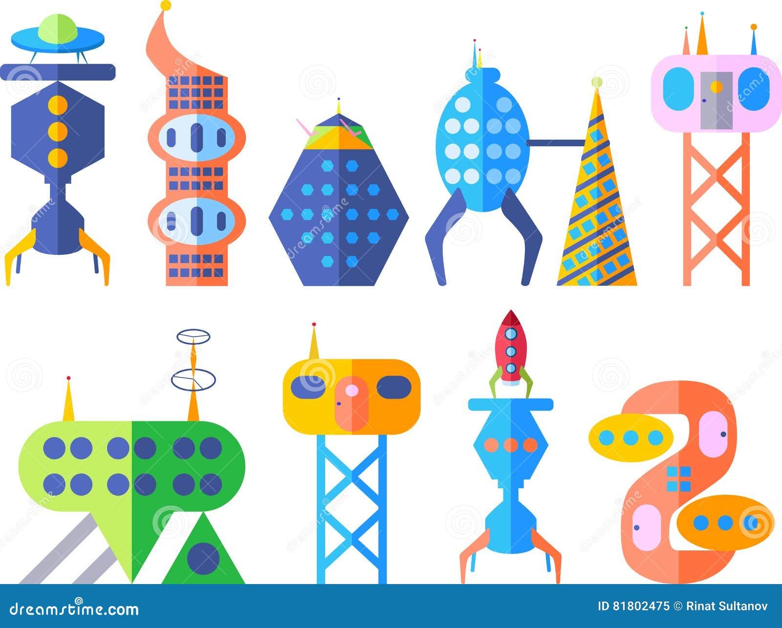 Будущий фантастический современный комплект города в стиле шаржа