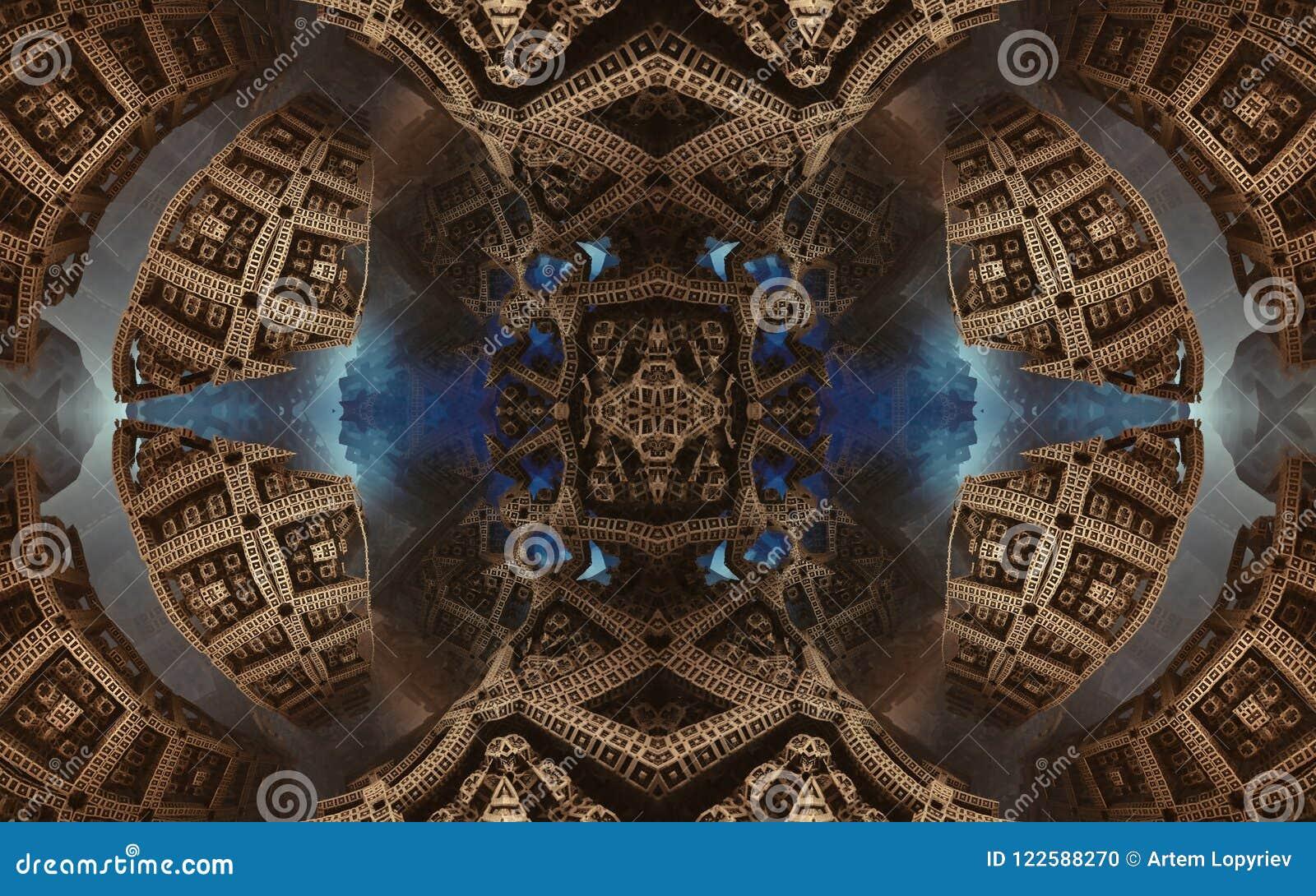 Былинные абстрактные фантастические плакат или предпосылка Футуристический взгляд from inside фрактали Картина в форме стрелок
