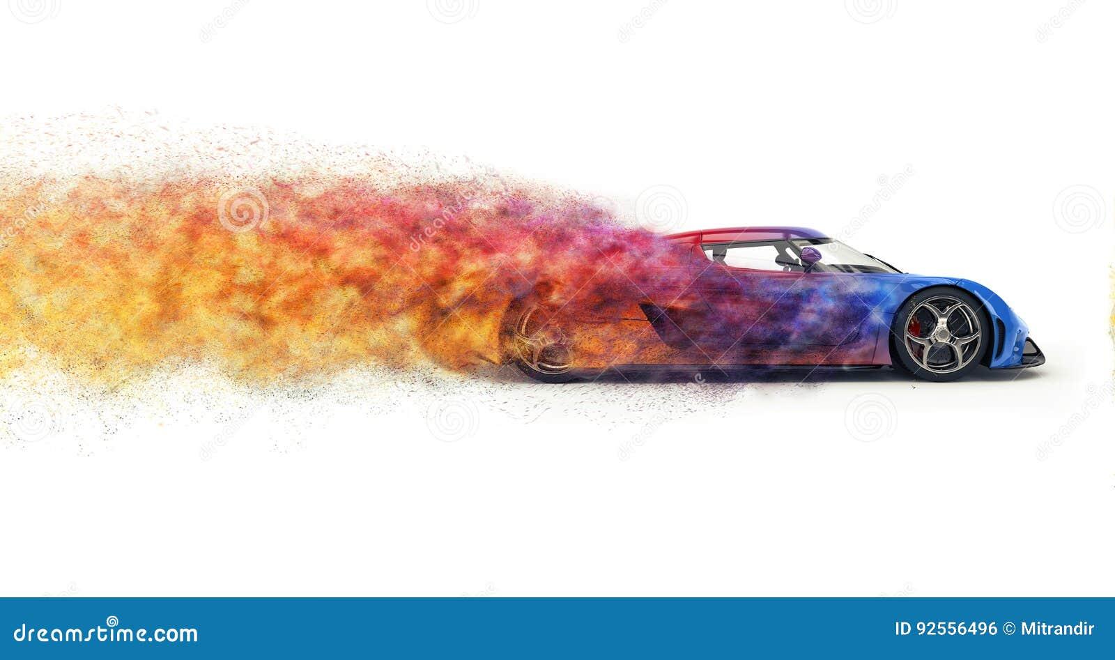 Быстрый современный супер автомобиль дезинтегрируя в красочные частицы