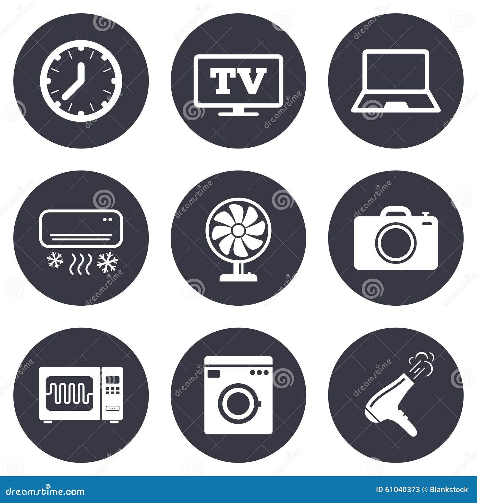 Бытовые устройства, значки прибора Знак электроники