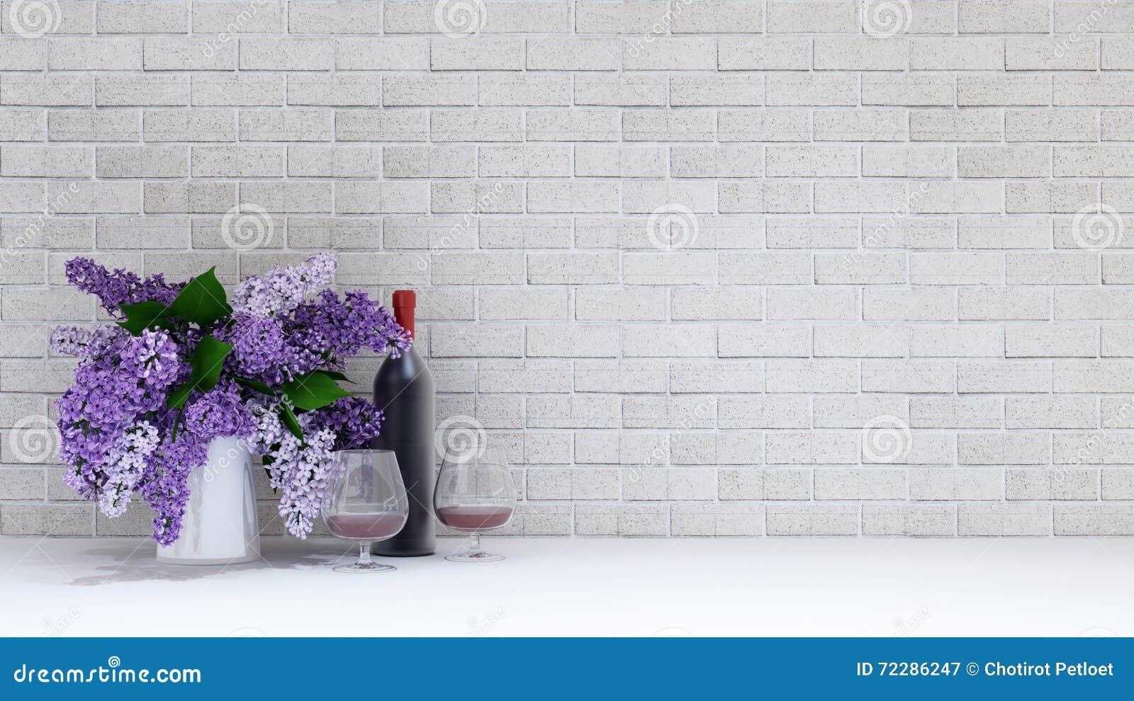 Download Ваза фиолетового цветка с стеклом и дно вина на Bac кирпича Иллюстрация штока - иллюстрации насчитывающей наведенное, пук: 72286247