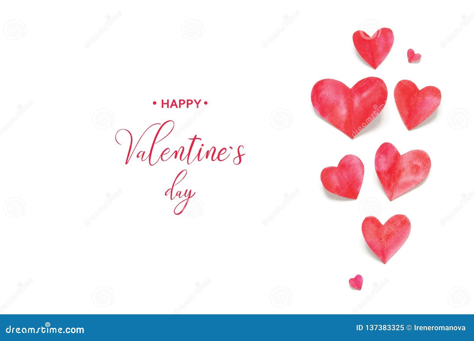 Валентайн приветствию s дня карточки Сердца акварели