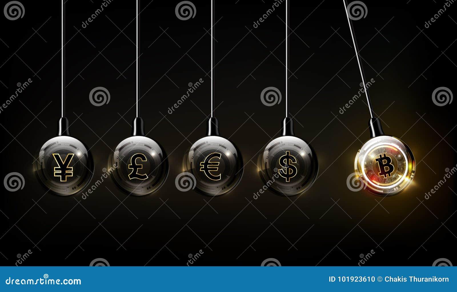 Валюта, доллар, евро, фунт стерлинга, иены и юани Bitcoin цифровые в форме вашгерда Ньютона, концепции финансов мира fintech