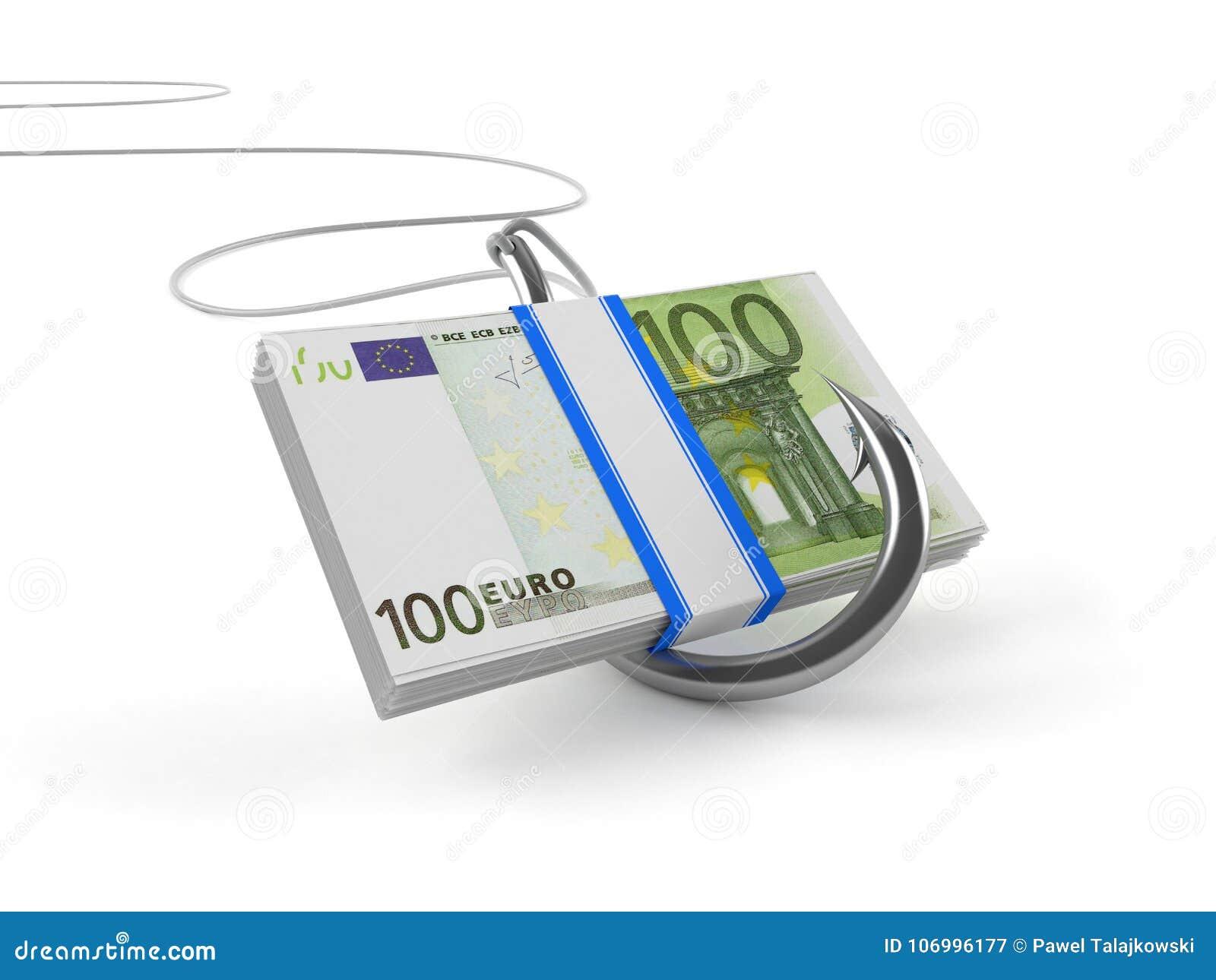 Валюта евро с рыболовным крючком