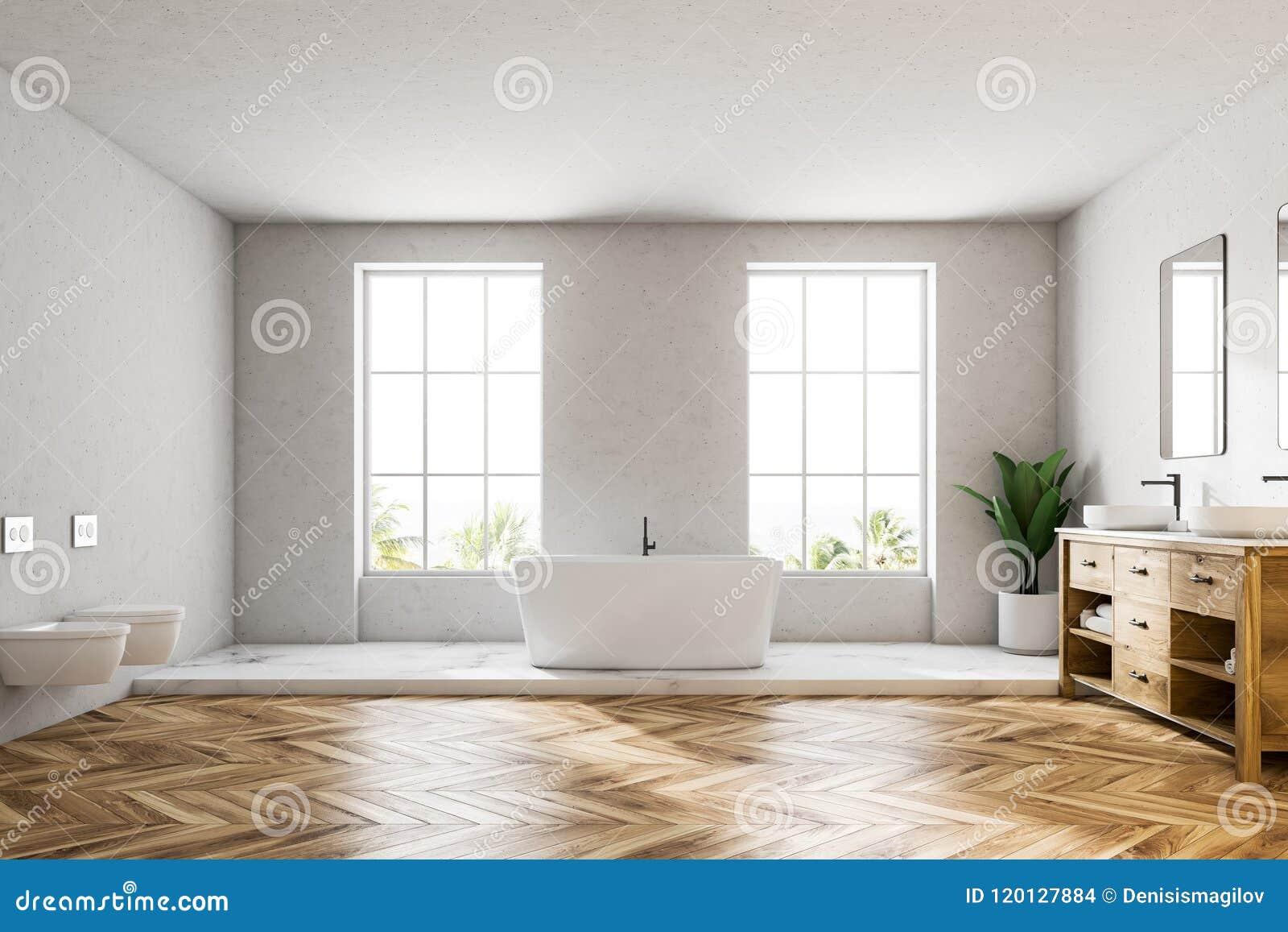 Ванная комната внутренняя, белый ушат просторной квартиры белая роскошная