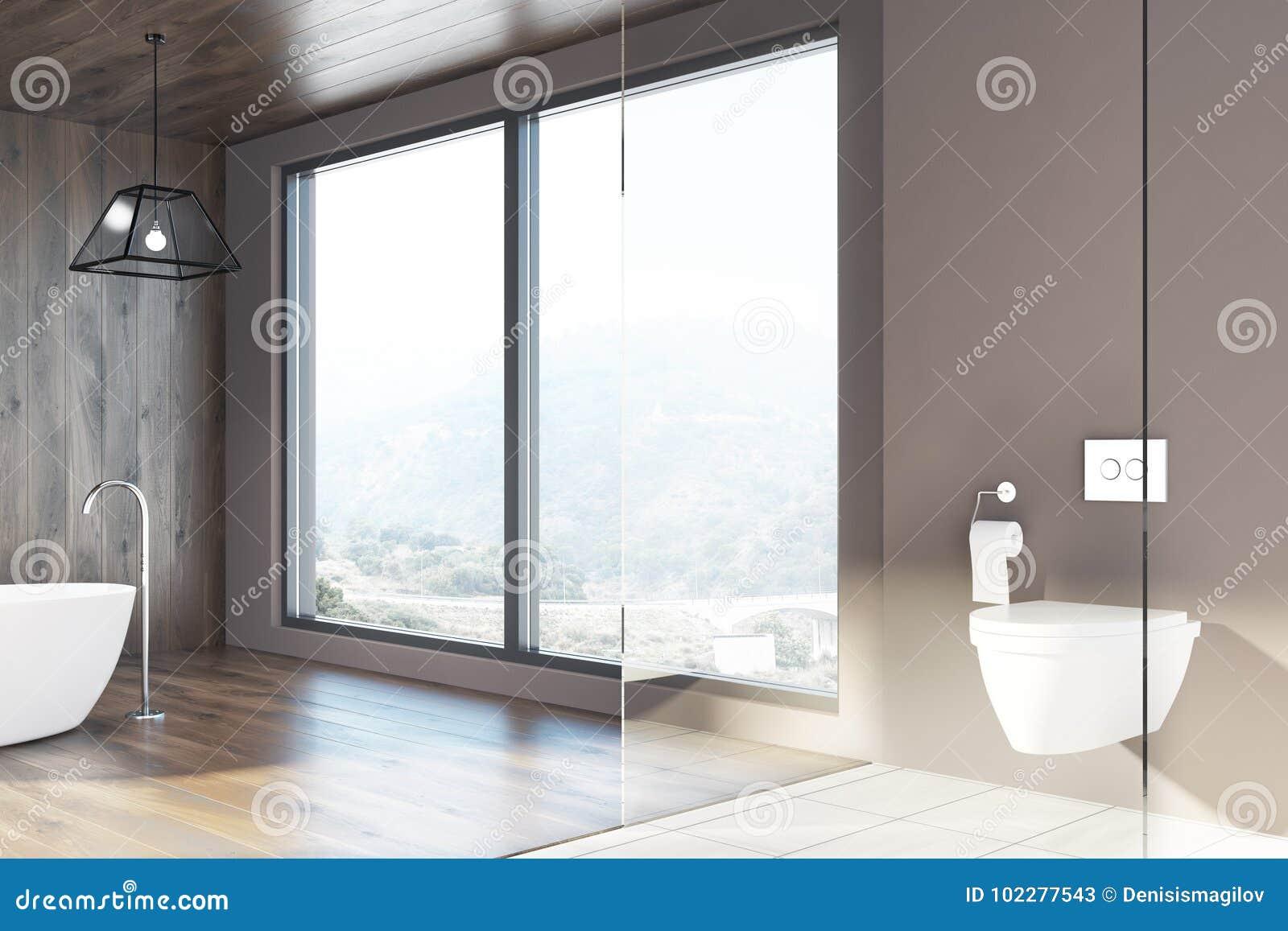 Ванная комната просторной квартиры, деревянные стены, белый ушат, туалет
