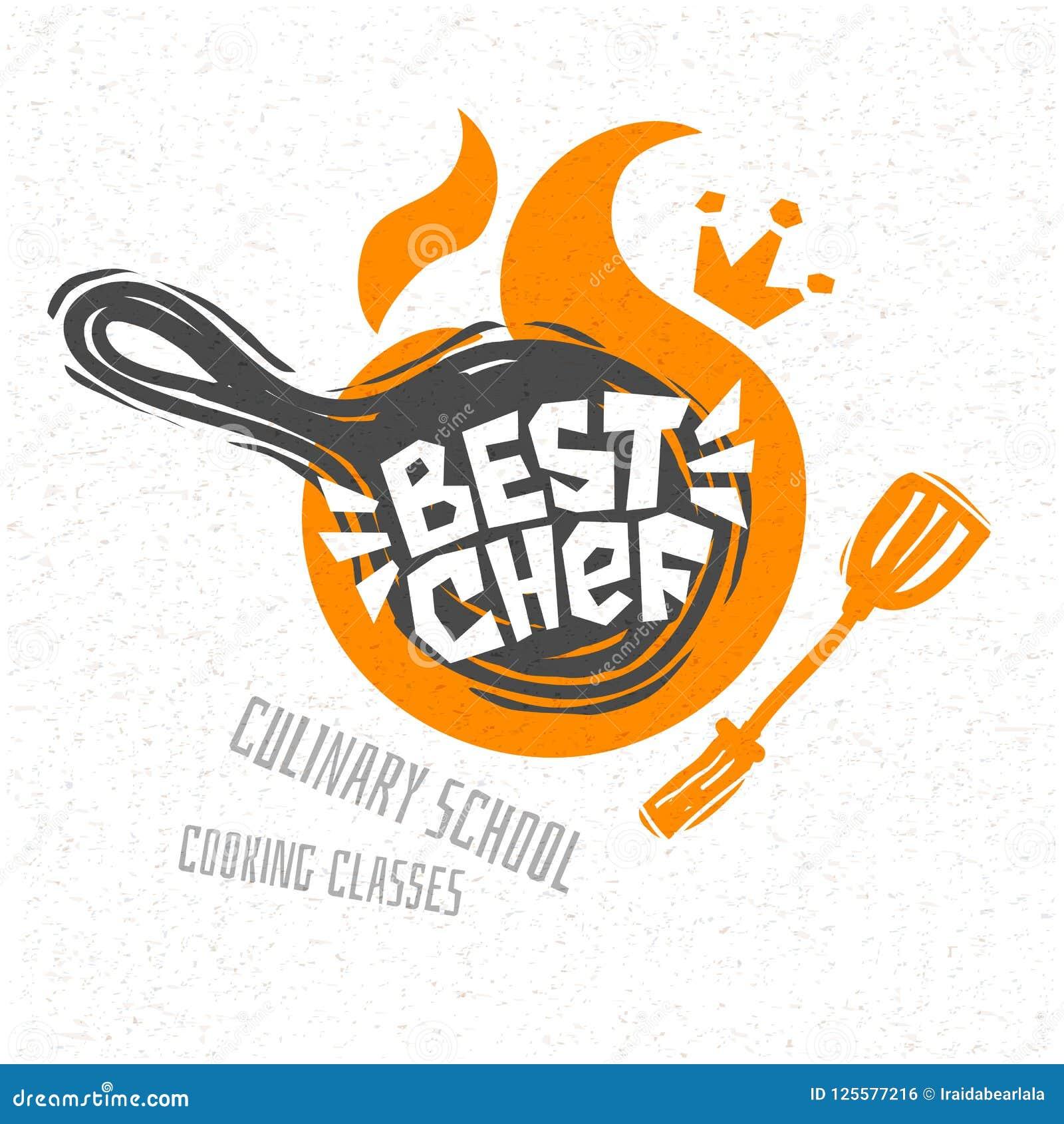Варить школу, кулинарные классы, студия, логотип, утвари, рисберма, вилка, нож, шеф-повар