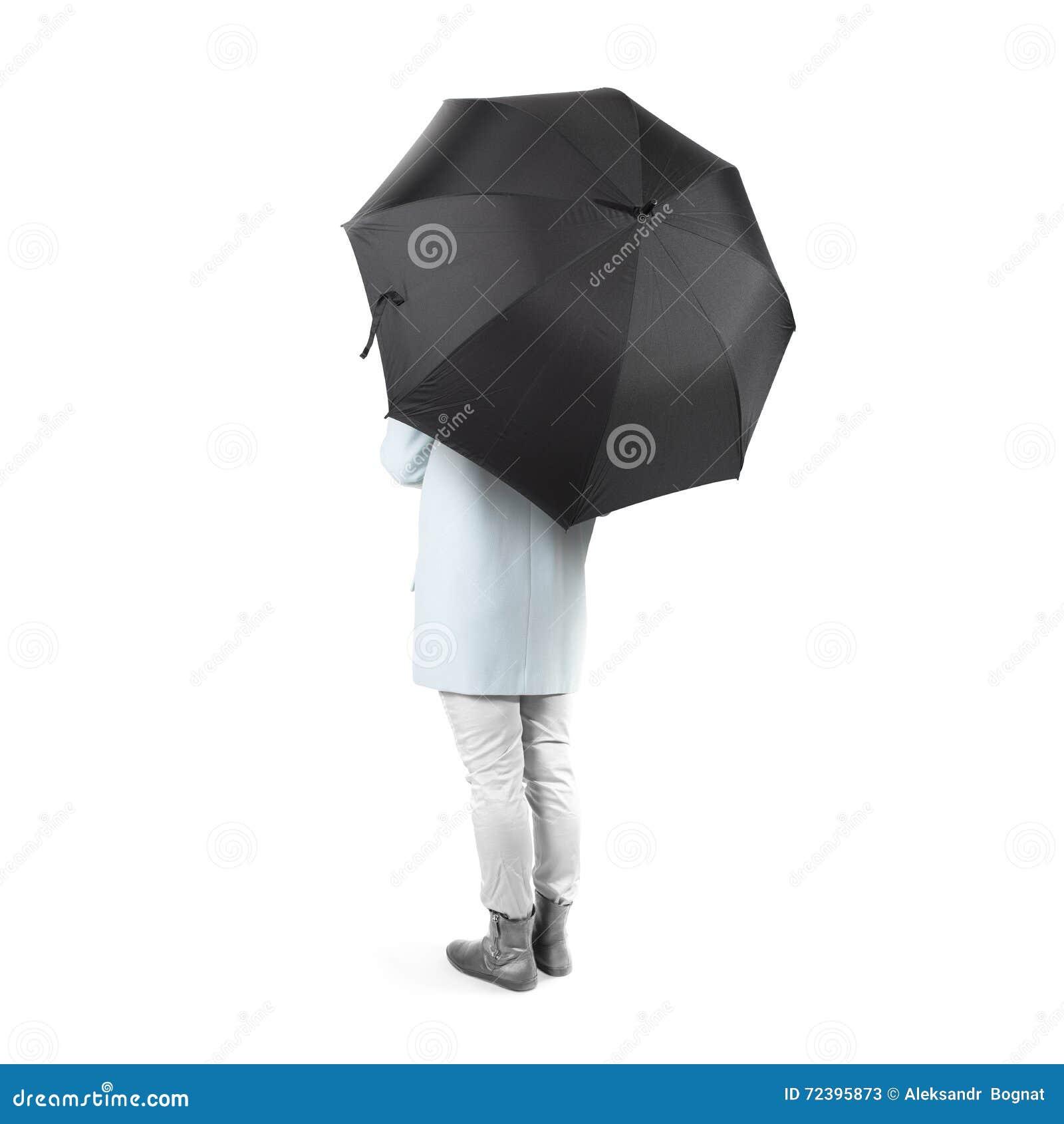 Вверх изолированные женщины стоят ОН назад с черной пустой насмешкой зонтика