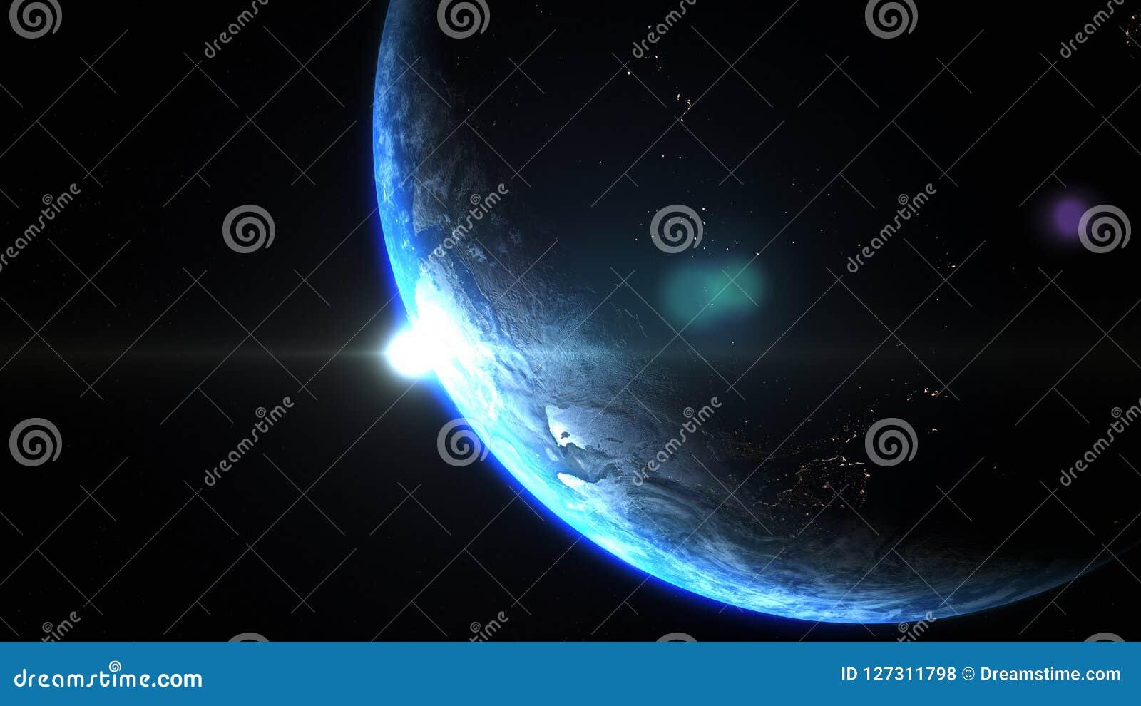 Вверх ногами угол земли планеты от космоса во время восхода солнца