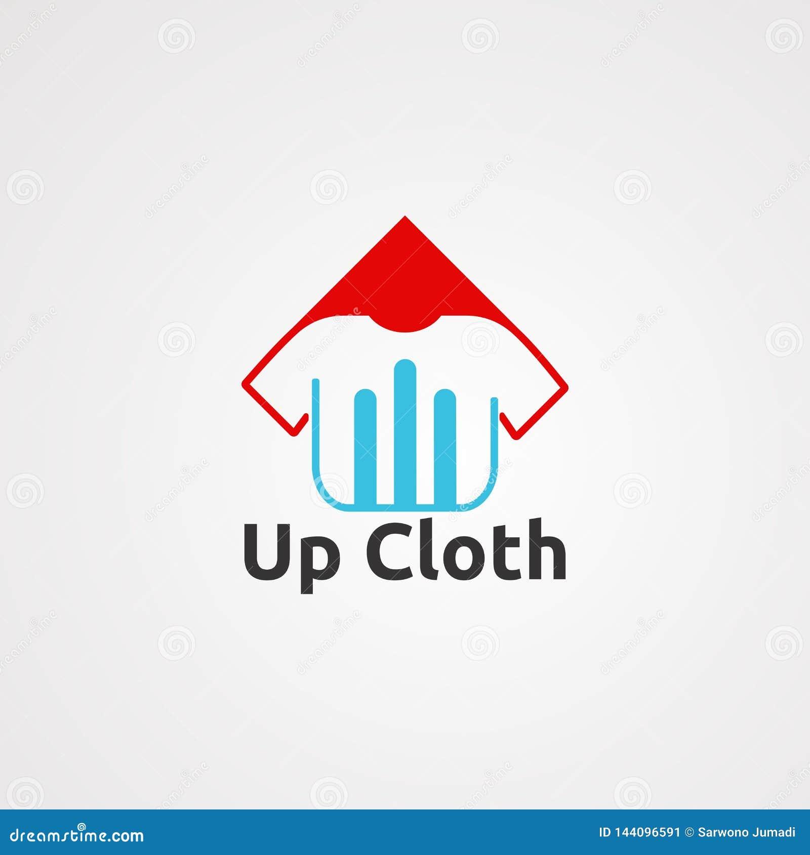Вверх по вектору, значку, элементу, и шаблону логотипа ткани для компании