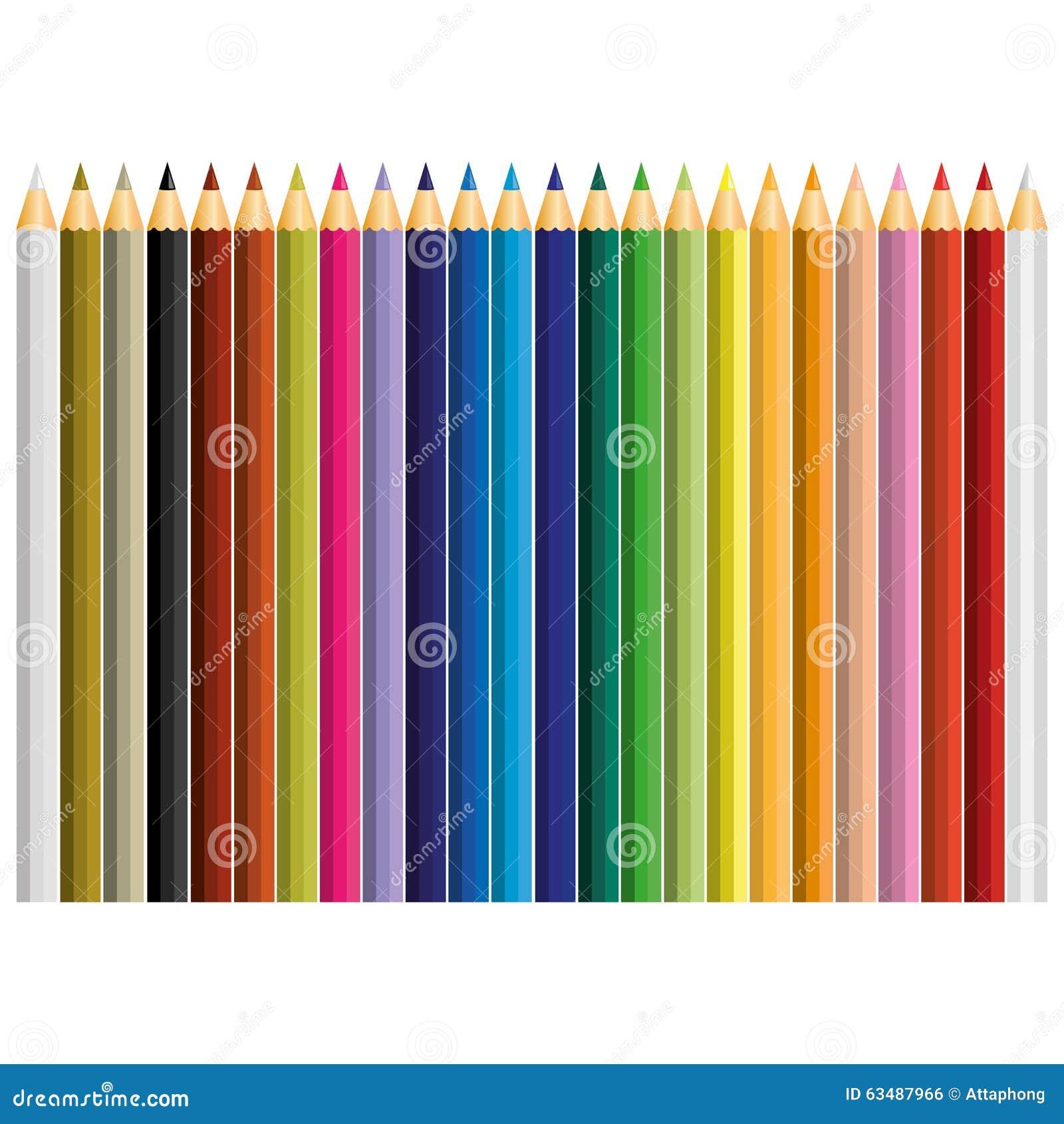 24 вектора карандаша цвета
