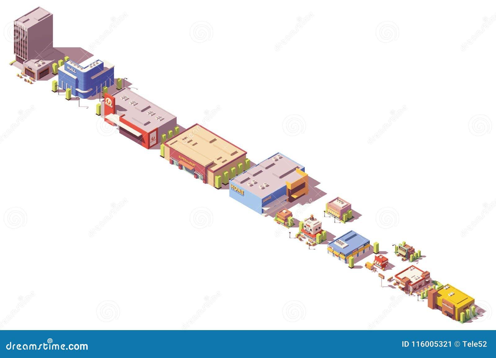 Вектора магазины и рестораны низко поли равновеликие