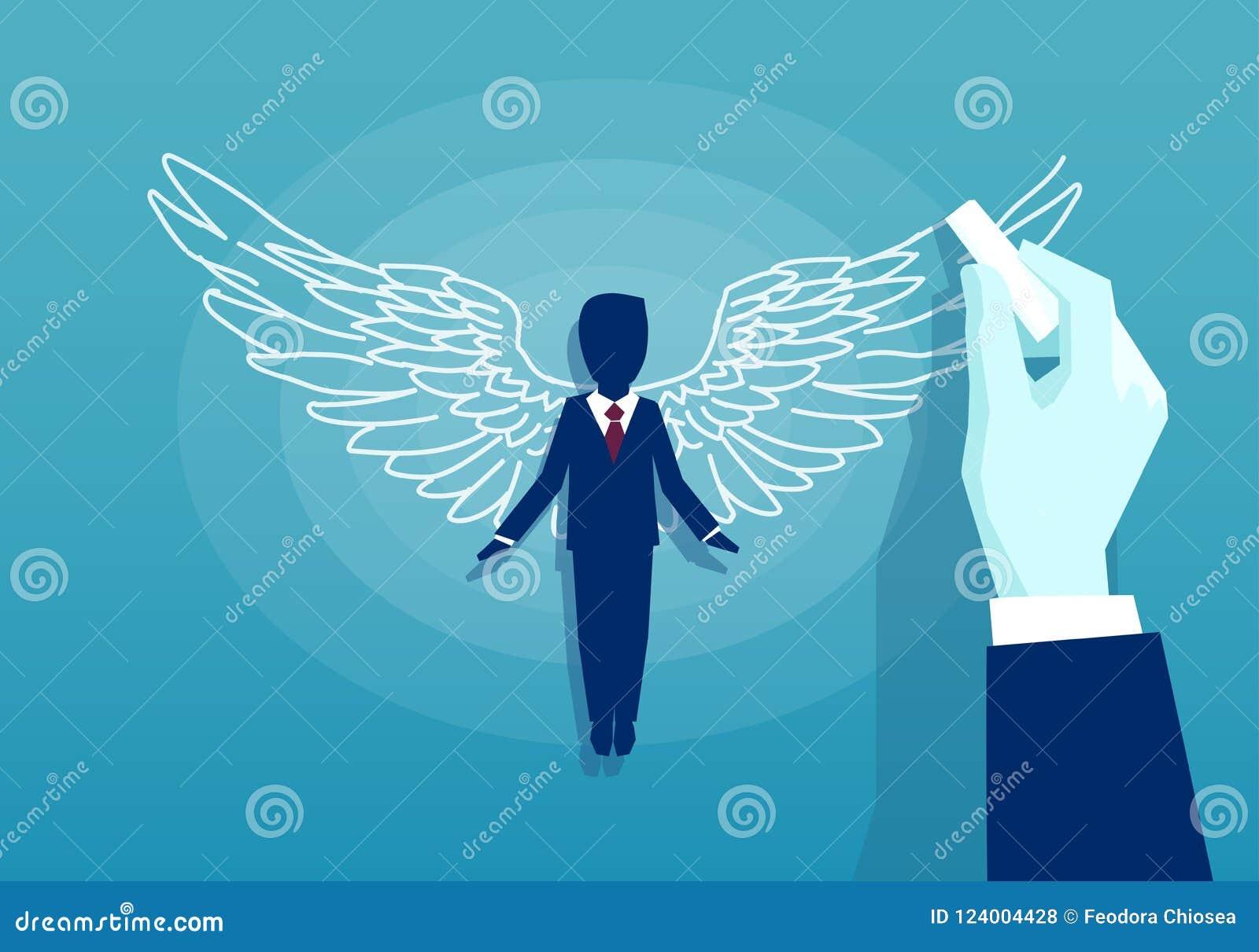 Вектор бизнесмена с крылами