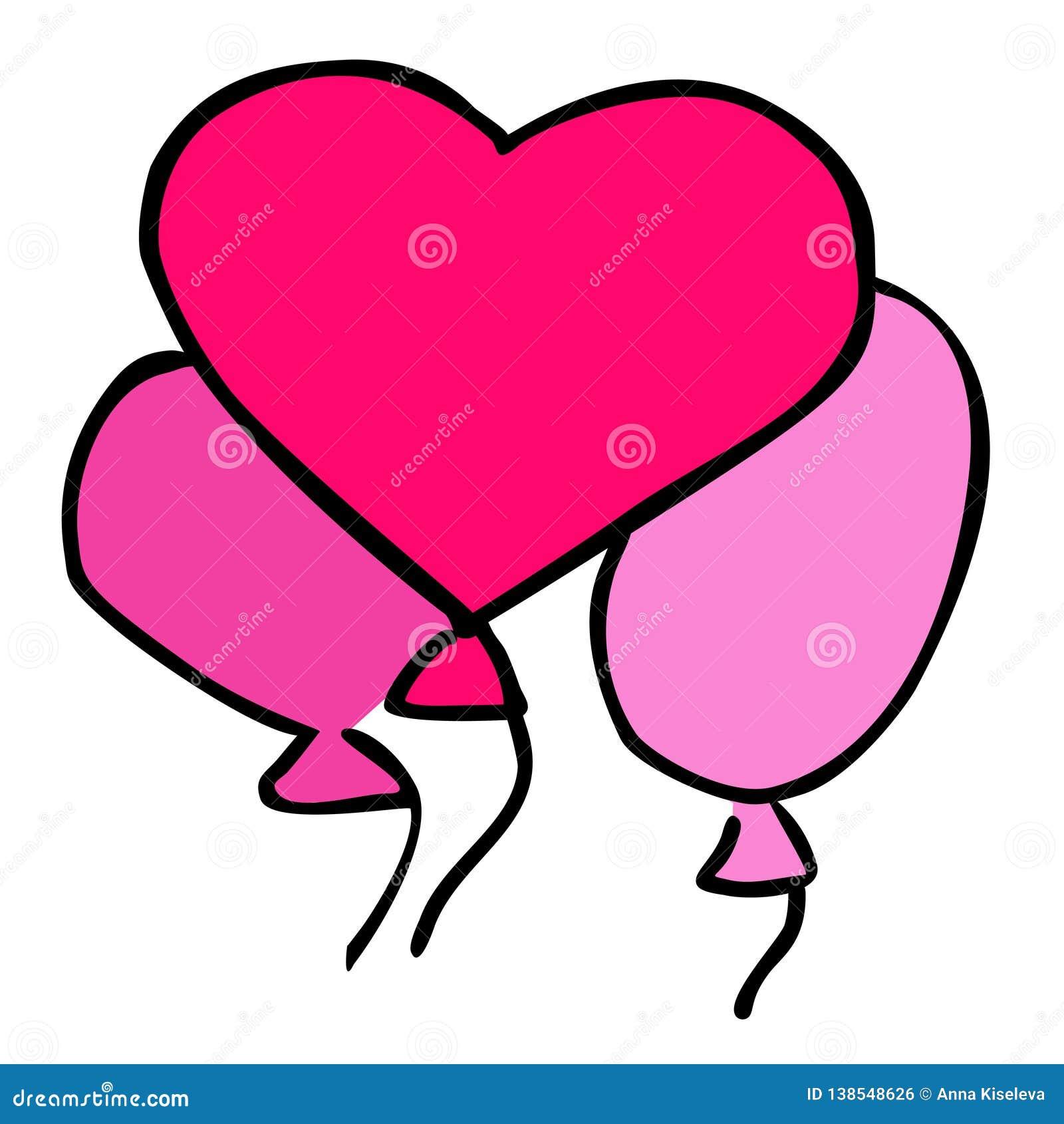 Вектор воздушных шаров сердца мультфильма изолированных на белой предпосылке