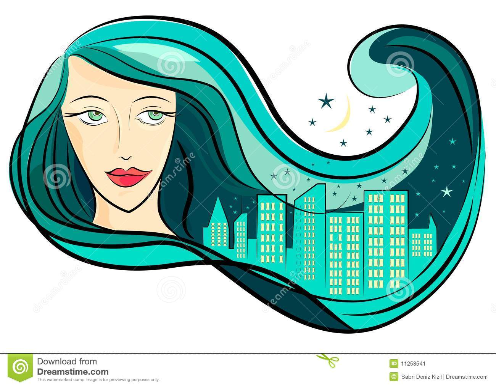 вектор волос девушки города