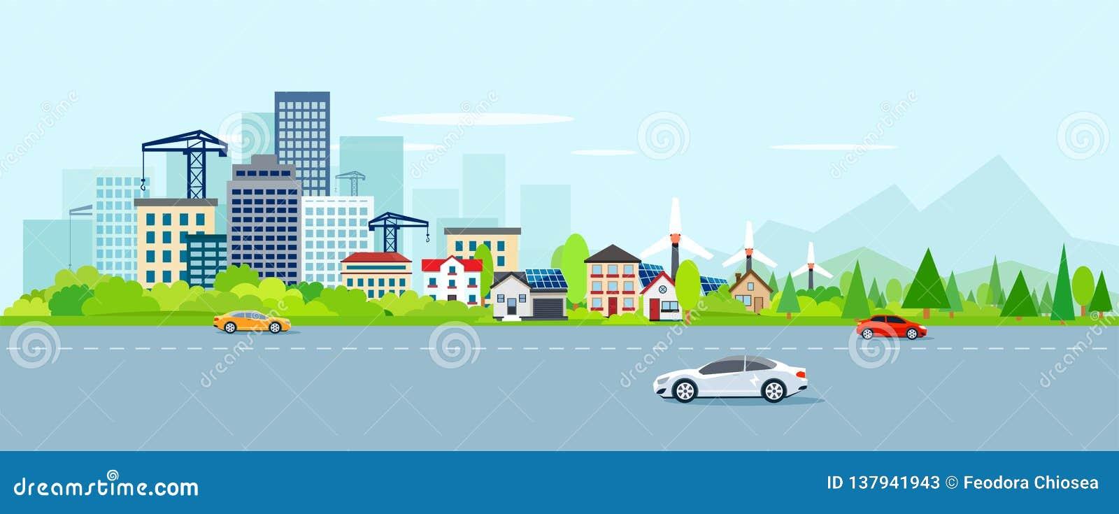 Вектор городского ландшафта с современными городским пейзажем и пригородами