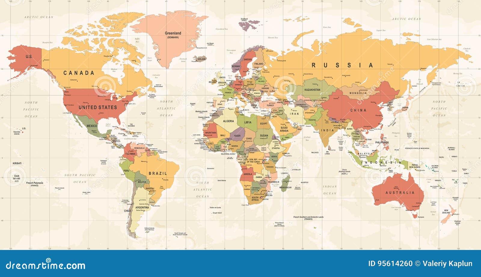 Вектор года сбора винограда карты мира Детальная иллюстрация worldmap