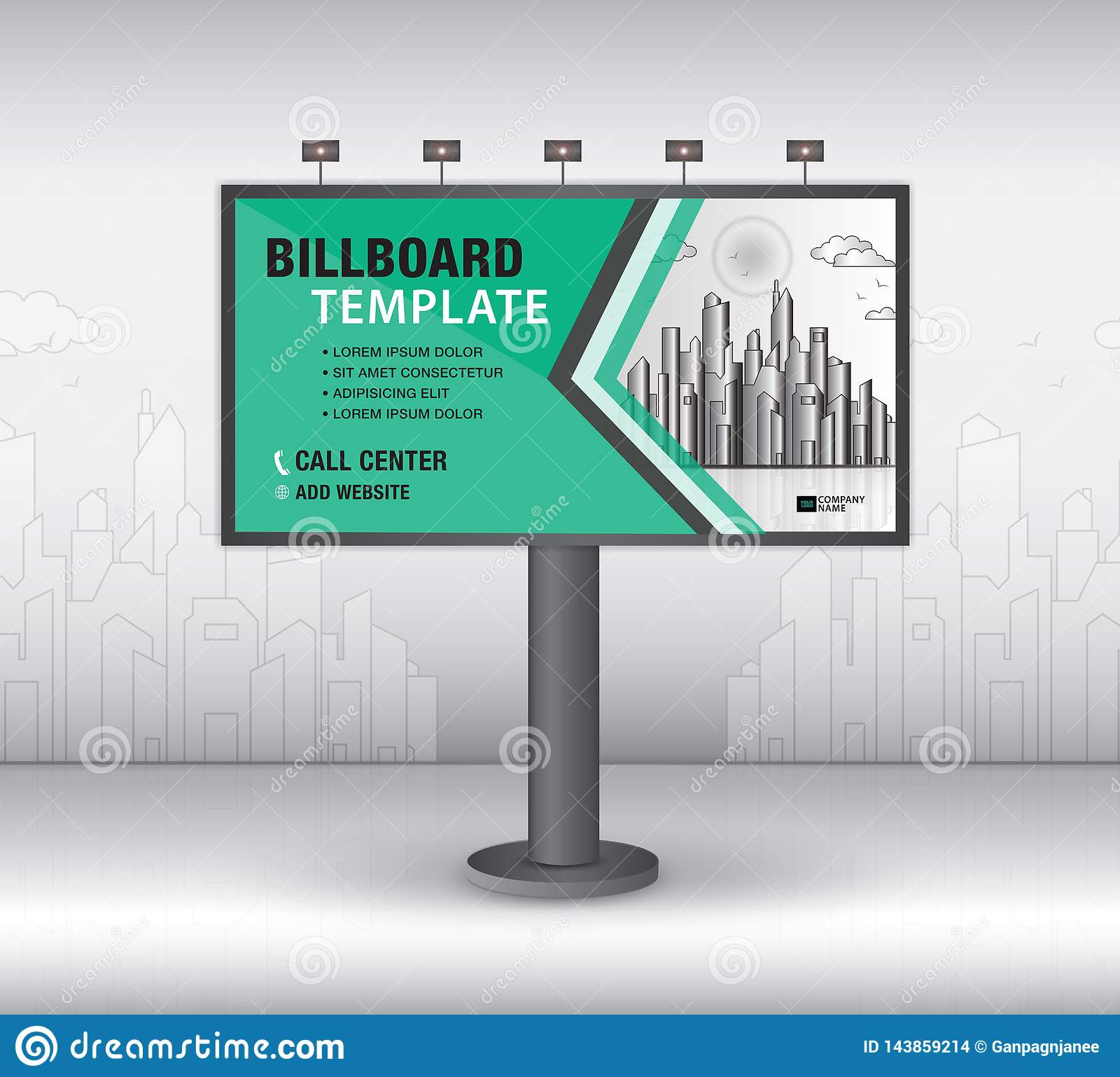 Вектор дизайна афиши, шаблон знамени, реклама, реалистическая конструкция для на открытом воздухе рекламы на предпосылке города,