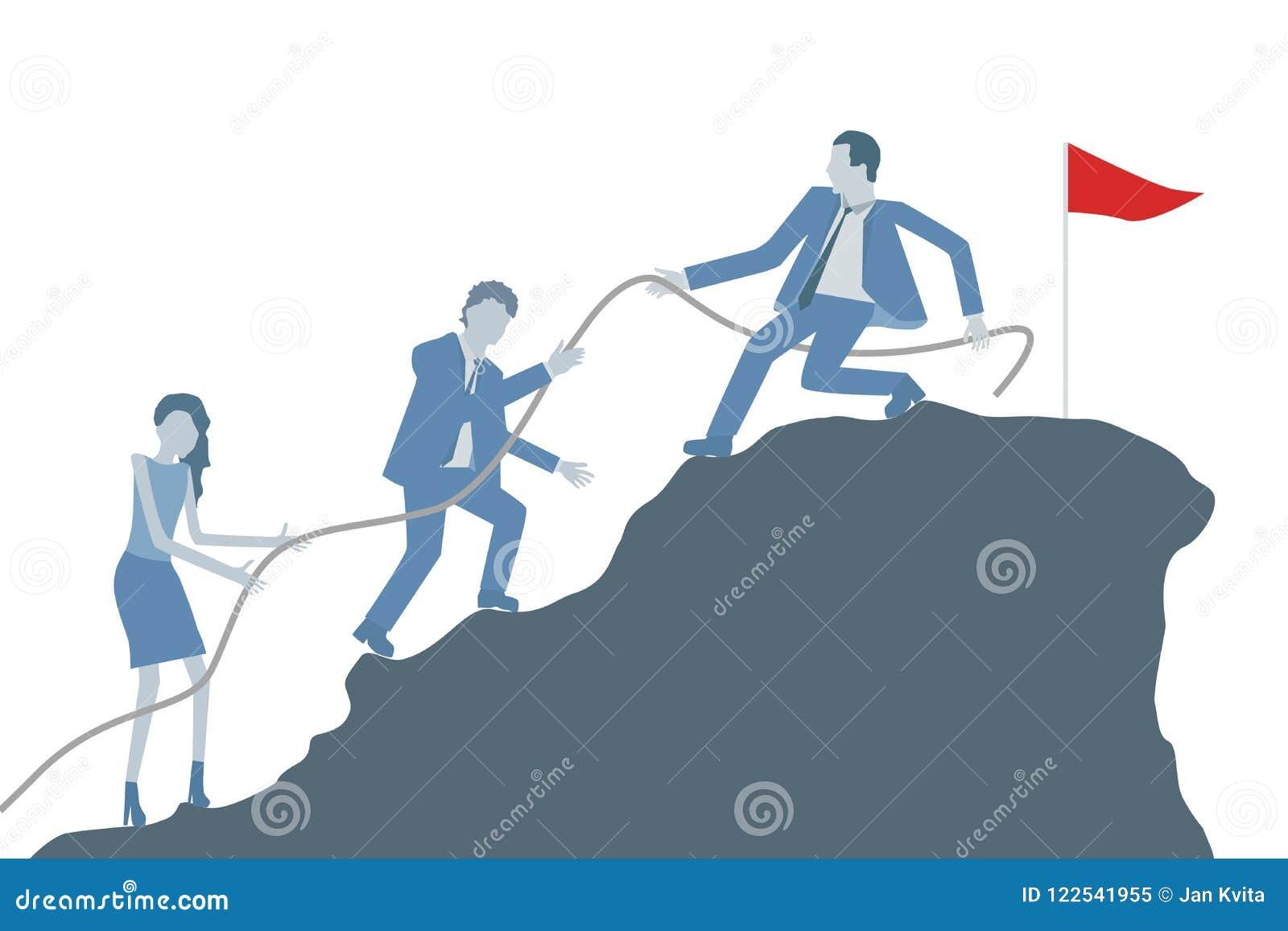 Вектор дизайна дела плоский с коллегами порции руководителя, который нужно взобраться na górze горы