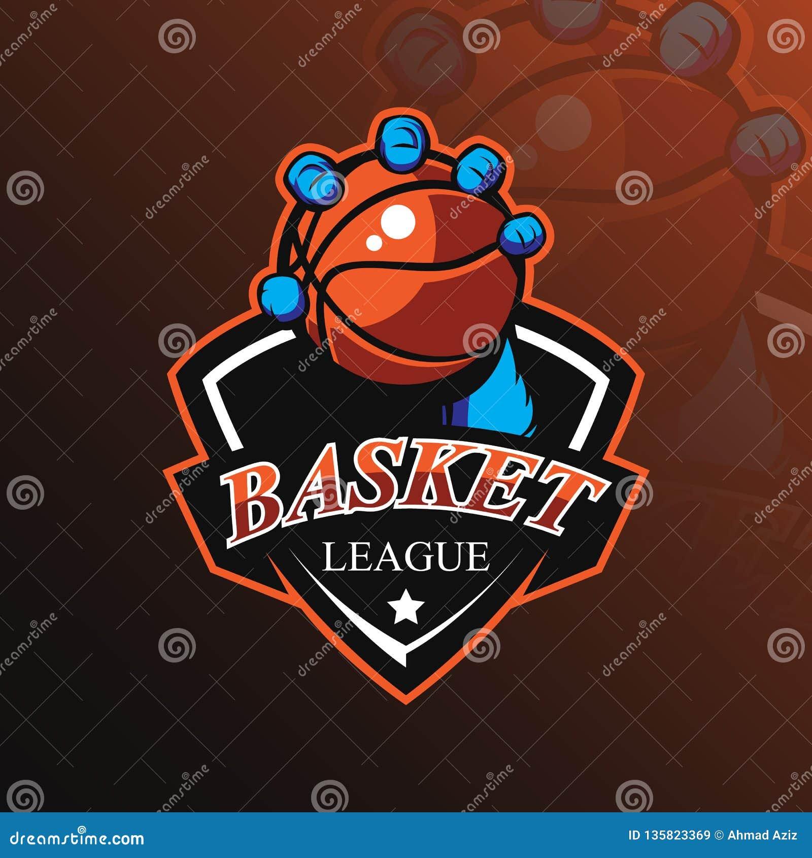 Вектор дизайна логотипа талисмана баскетбола с современным стилем концепции иллюстрации для печатания значка, эмблемы и футболки