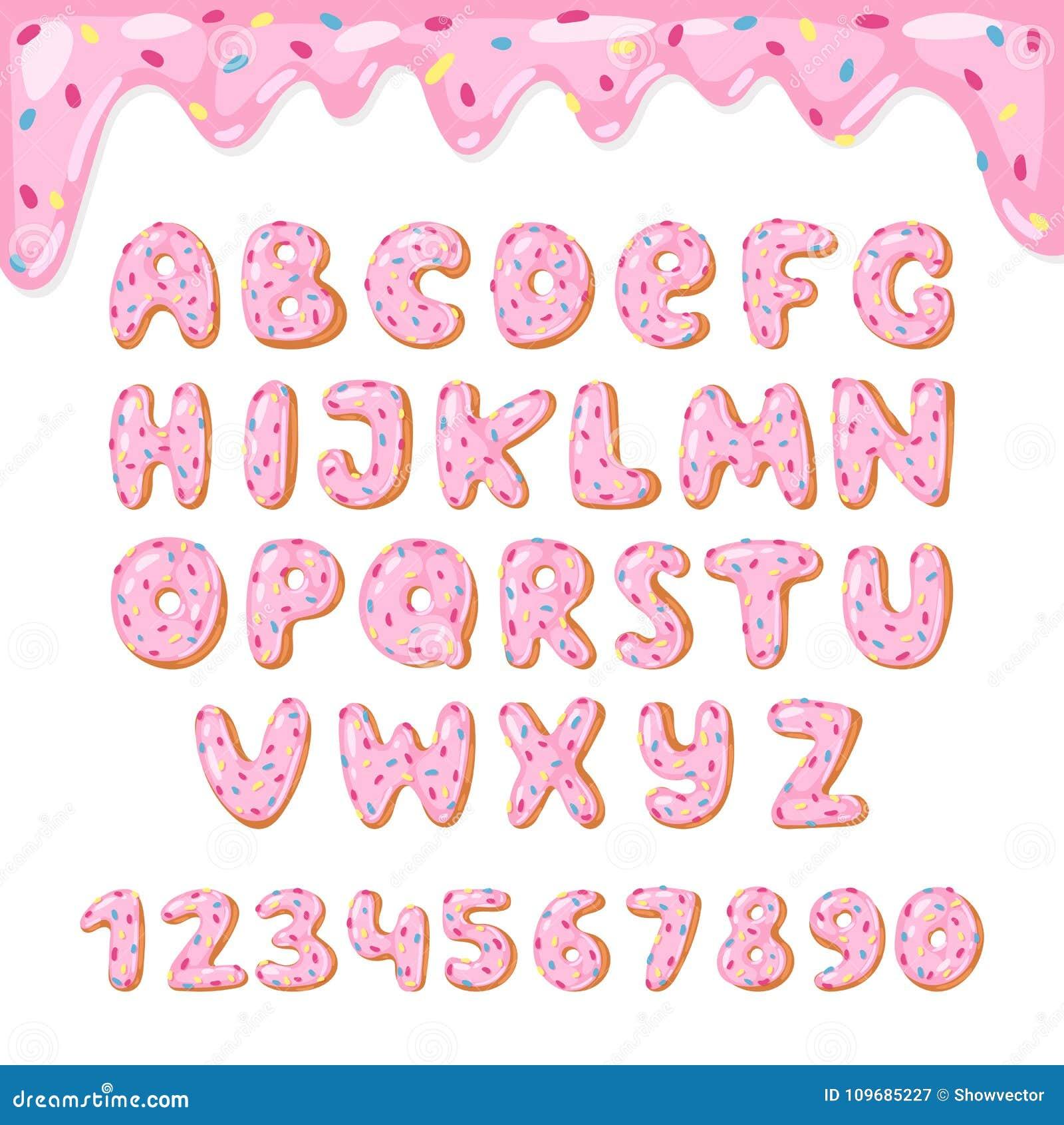 Вектор донута алфавита ягнится алфавитный ABC шрифта донутов с розовыми письмами и застекленными номерами с замороженностью или п