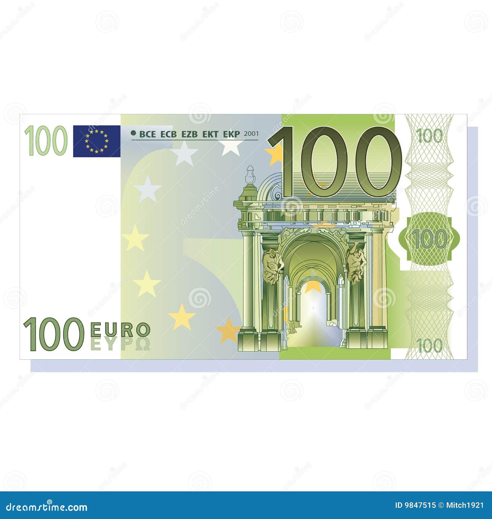 вектор евро 100 кредиток