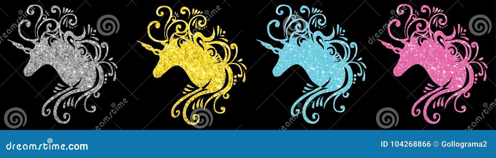 Вектор единорога силуэта головы единорога яркого блеска установленный изображает einhorn Пегаса 2d единорога искусства зажима еди